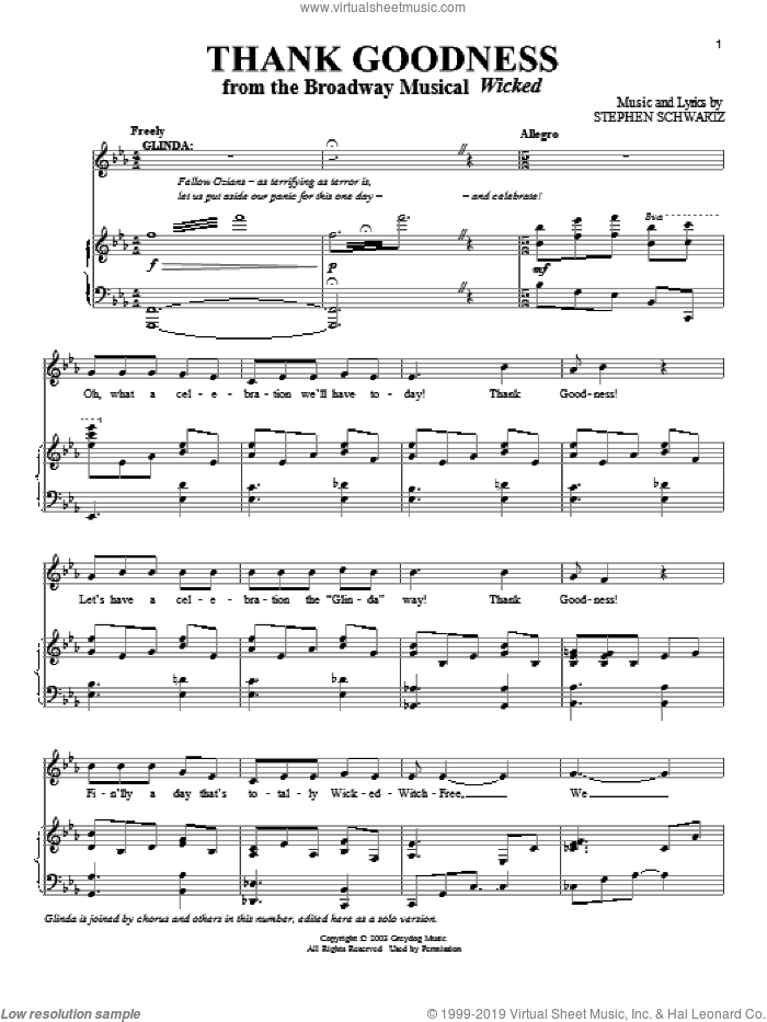 Thank Goodness sheet music for voice and piano by Stephen Schwartz, intermediate skill level
