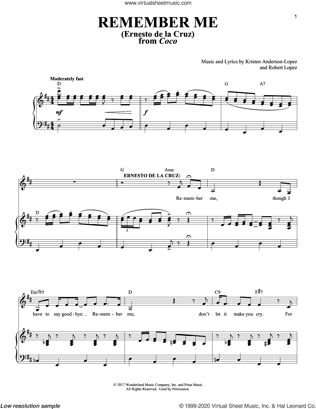 Remember Me (Ernesto de la Cruz) (from Coco) sheet music for voice and piano by Robert Lopez, Kristen Anderson-Lopez and Kristen Anderson-Lopez & Robert Lopez, intermediate skill level