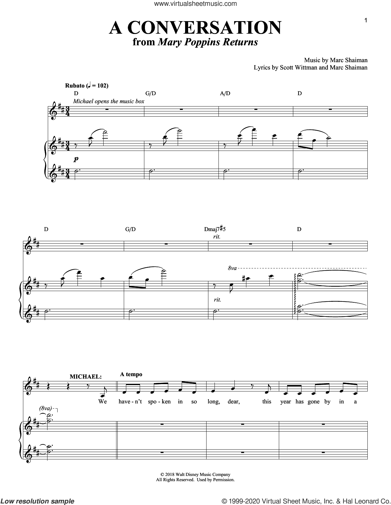 A Conversation (from Mary Poppins Returns) sheet music for voice and piano by Ben Wishaw, Marc Shaiman and Scott Wittman, intermediate skill level