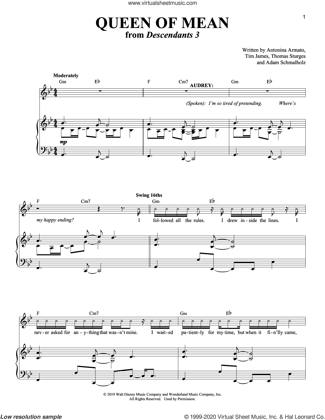 Queen Of Mean (from Disney's Descendants 3) sheet music for voice and piano by Sarah Jeffery, Adam Schmalholz, Antonina Armato, Thomas Sturges and Tim James, intermediate skill level