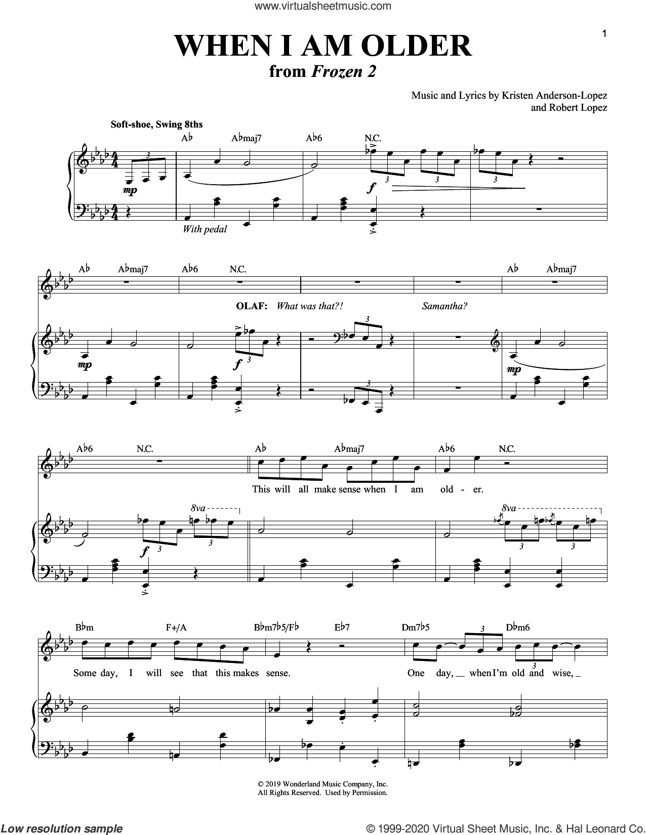 When I Am Older (from Disney's Frozen 2) sheet music for voice and piano by Josh Gad, Kristen Anderson-Lopez and Robert Lopez, intermediate skill level