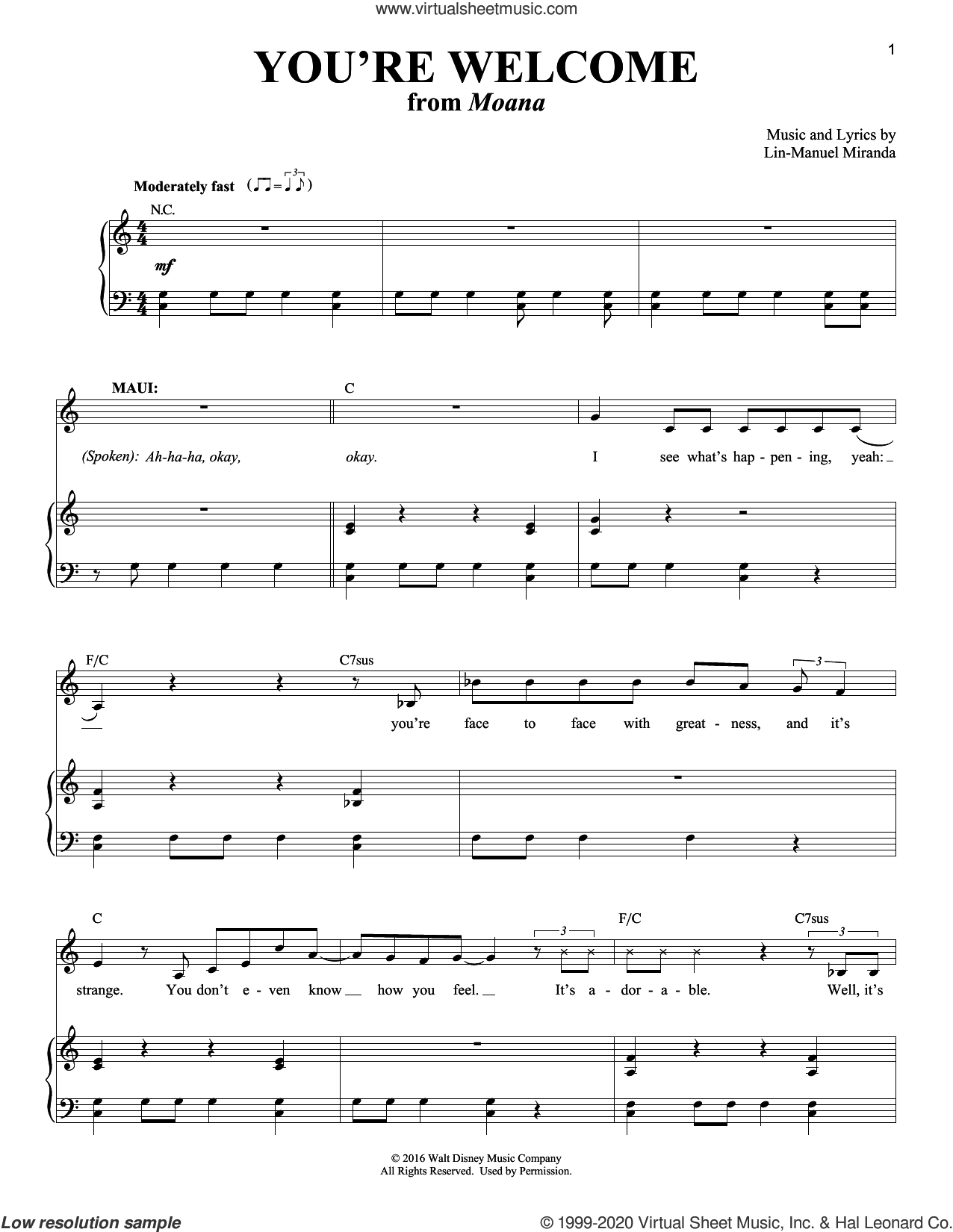 You're Welcome (from Moana) sheet music for voice and piano by Lin-Manuel Miranda, intermediate skill level