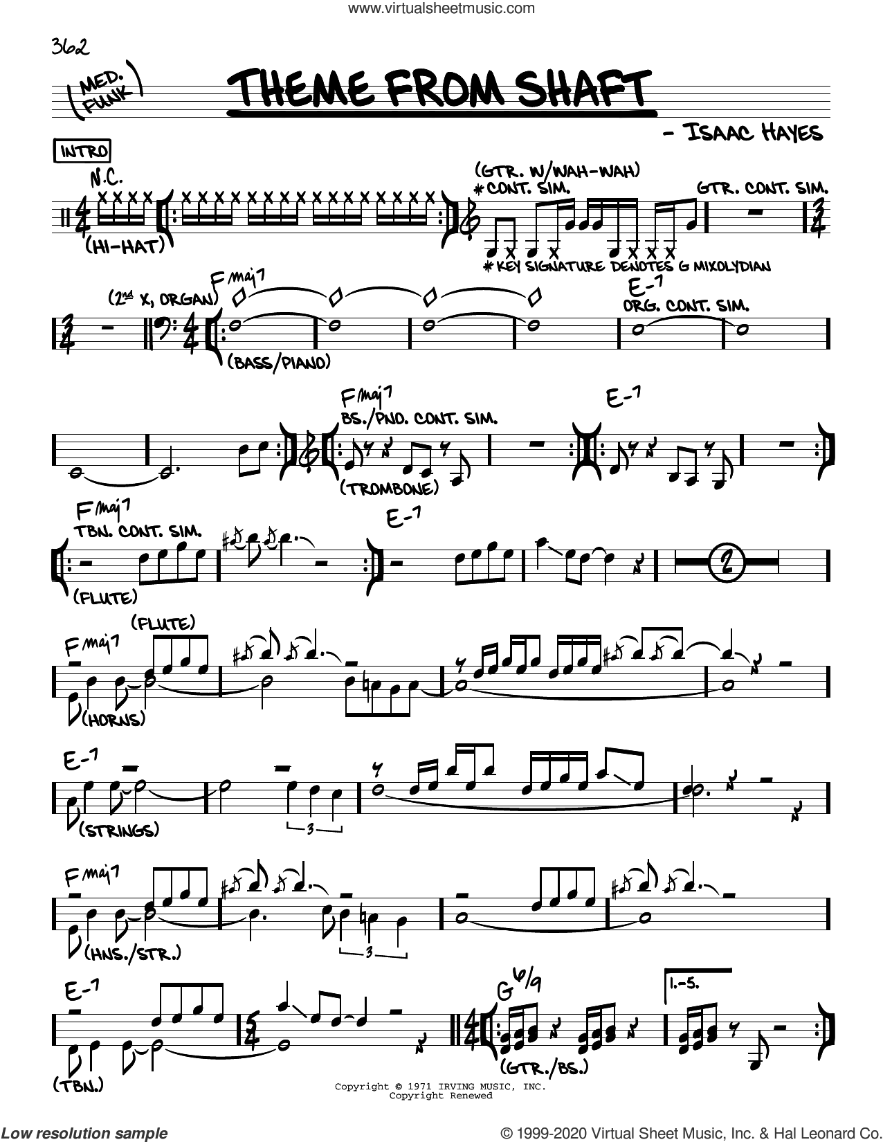 Theme From Shaft sheet music for voice and other instruments (real book) by Isaac Hayes, intermediate skill level