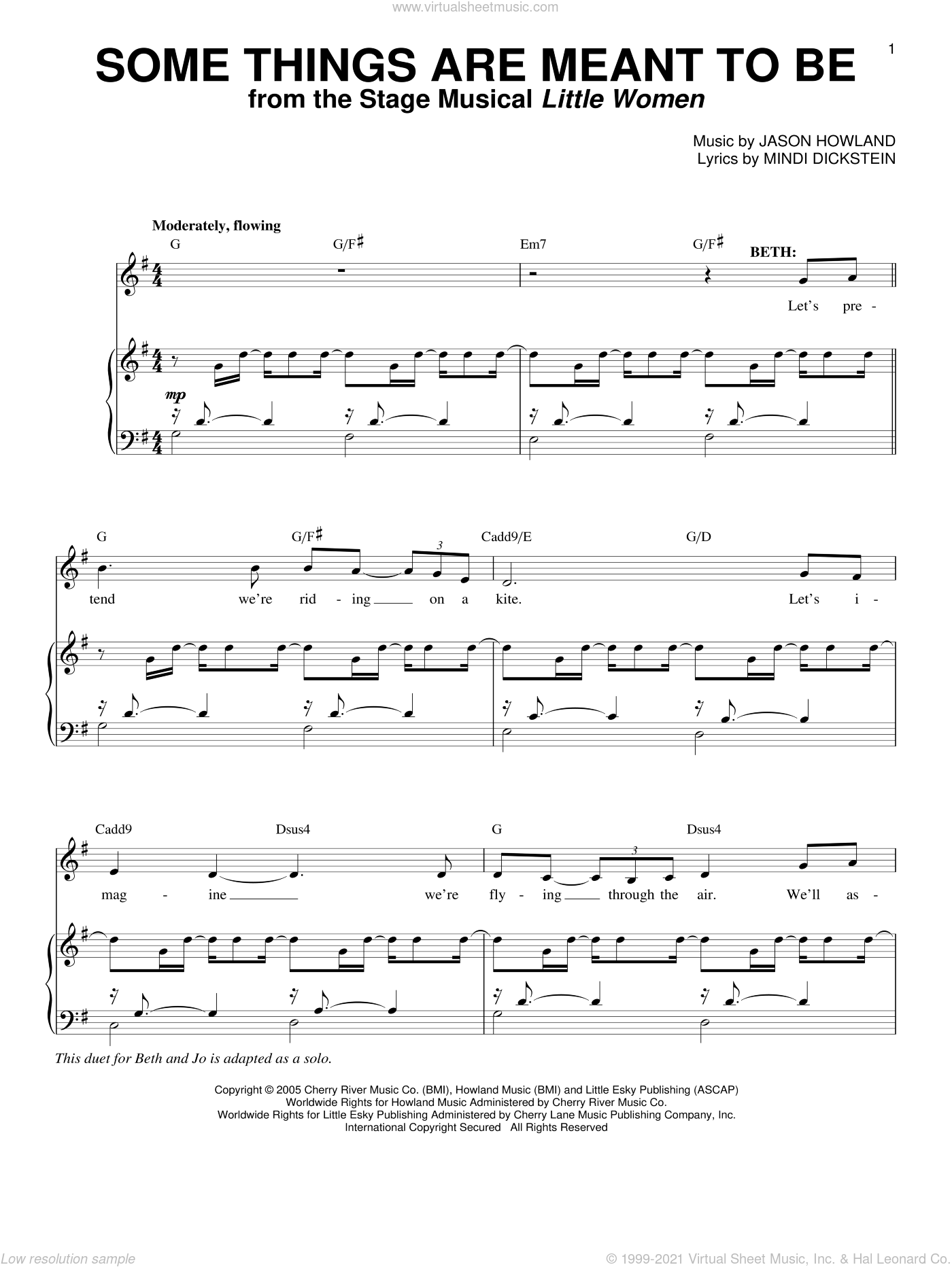 Some Things Are Meant To Be sheet music for voice and piano by Mindi Dickstein and Jason Howland, intermediate skill level