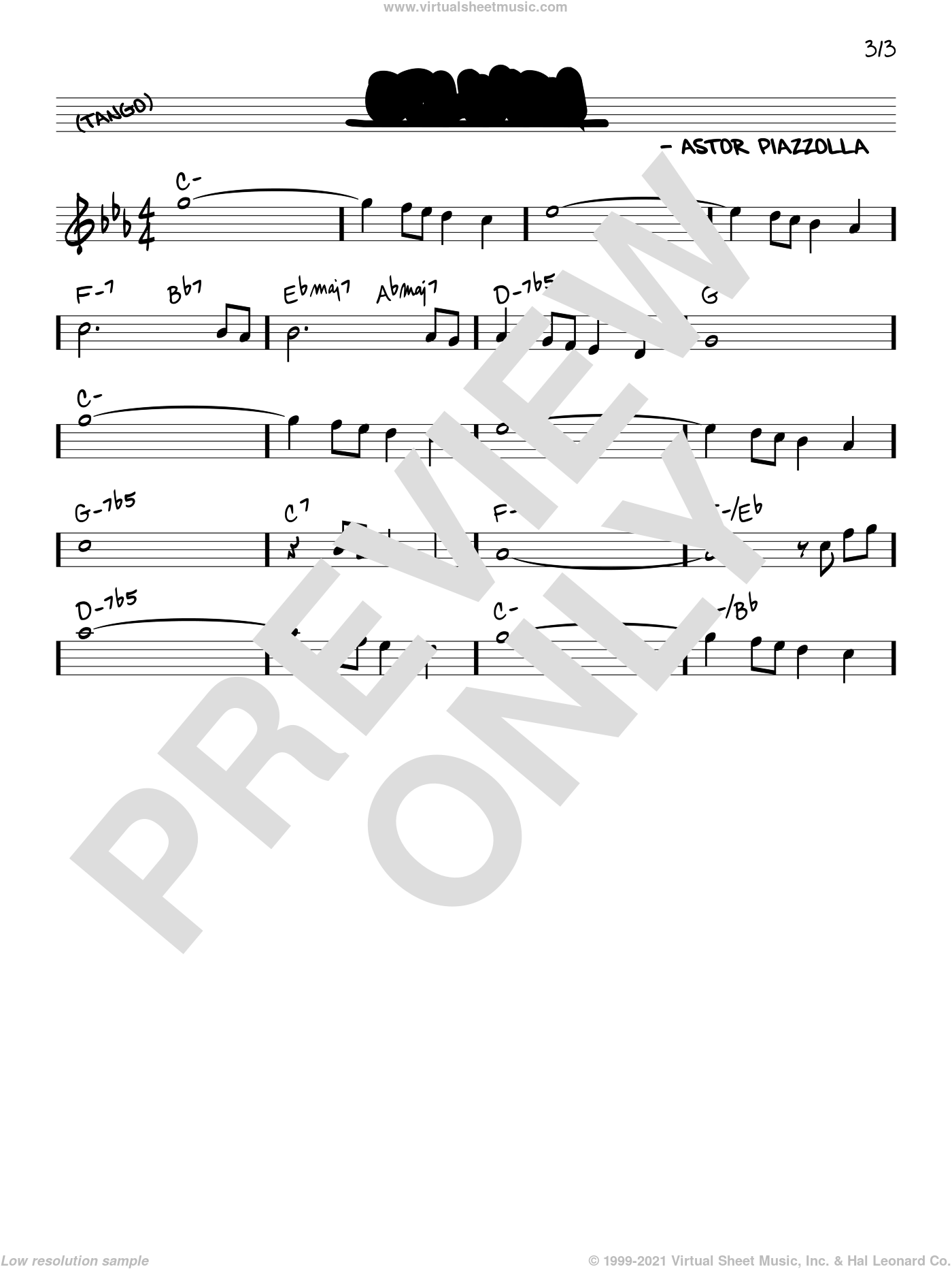 Oblivion sheet music for voice and other instruments (real book) by Astor Piazzolla, intermediate skill level