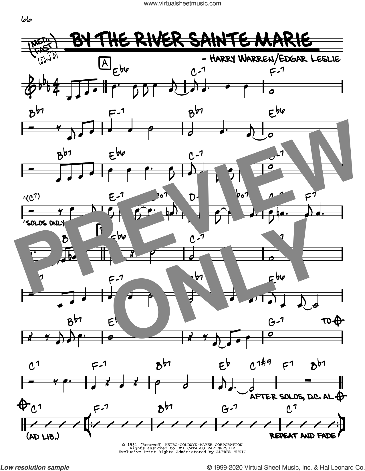 By The River Sainte Marie sheet music for voice and other instruments (real book) by Paul Desmond, Edgar Leslie and Harry Warren, intermediate skill level