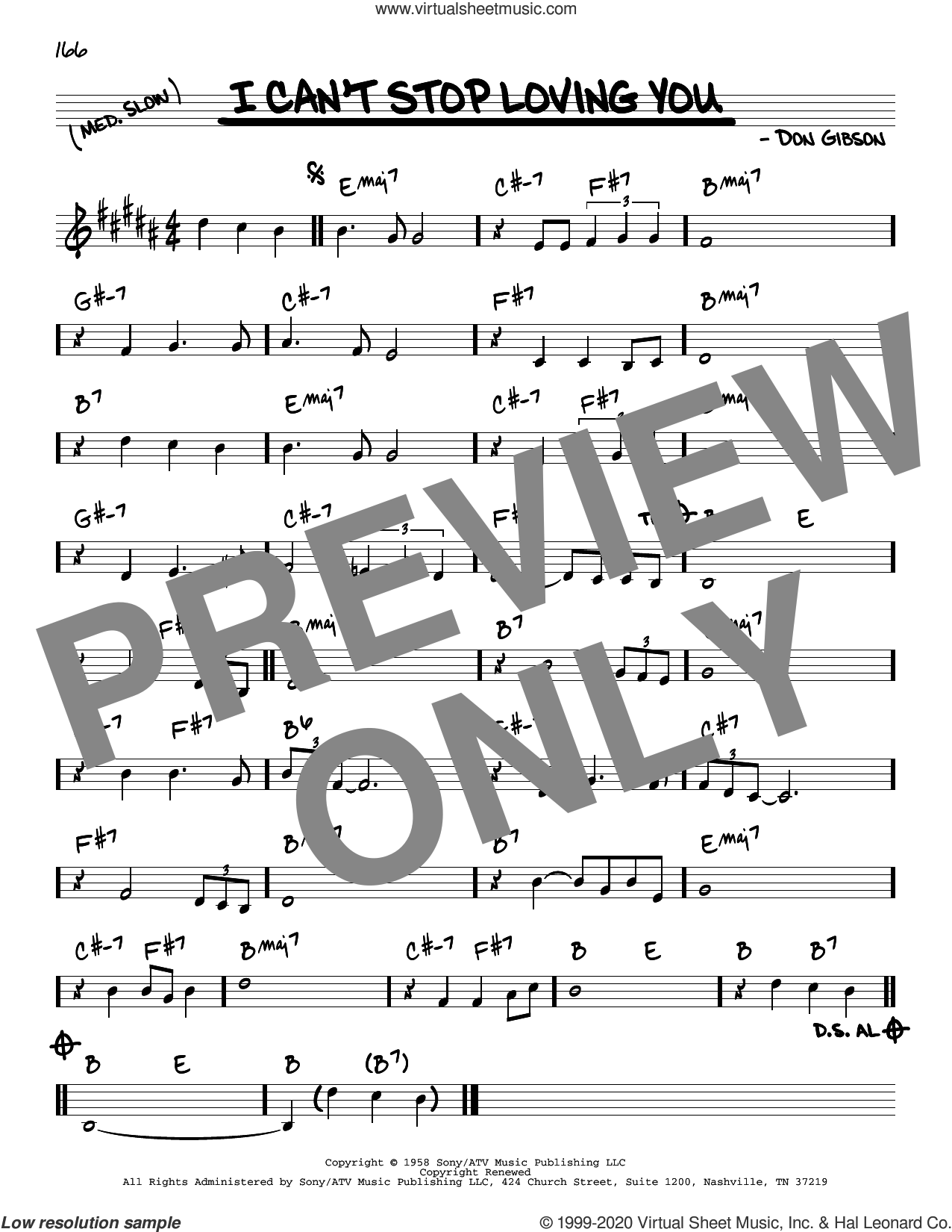 I Can't Stop Loving You sheet music for voice and other instruments (real book) by Don Gibson, Conway Twitty, Elvis Presley, Kitty Wells and Ray Charles, intermediate skill level