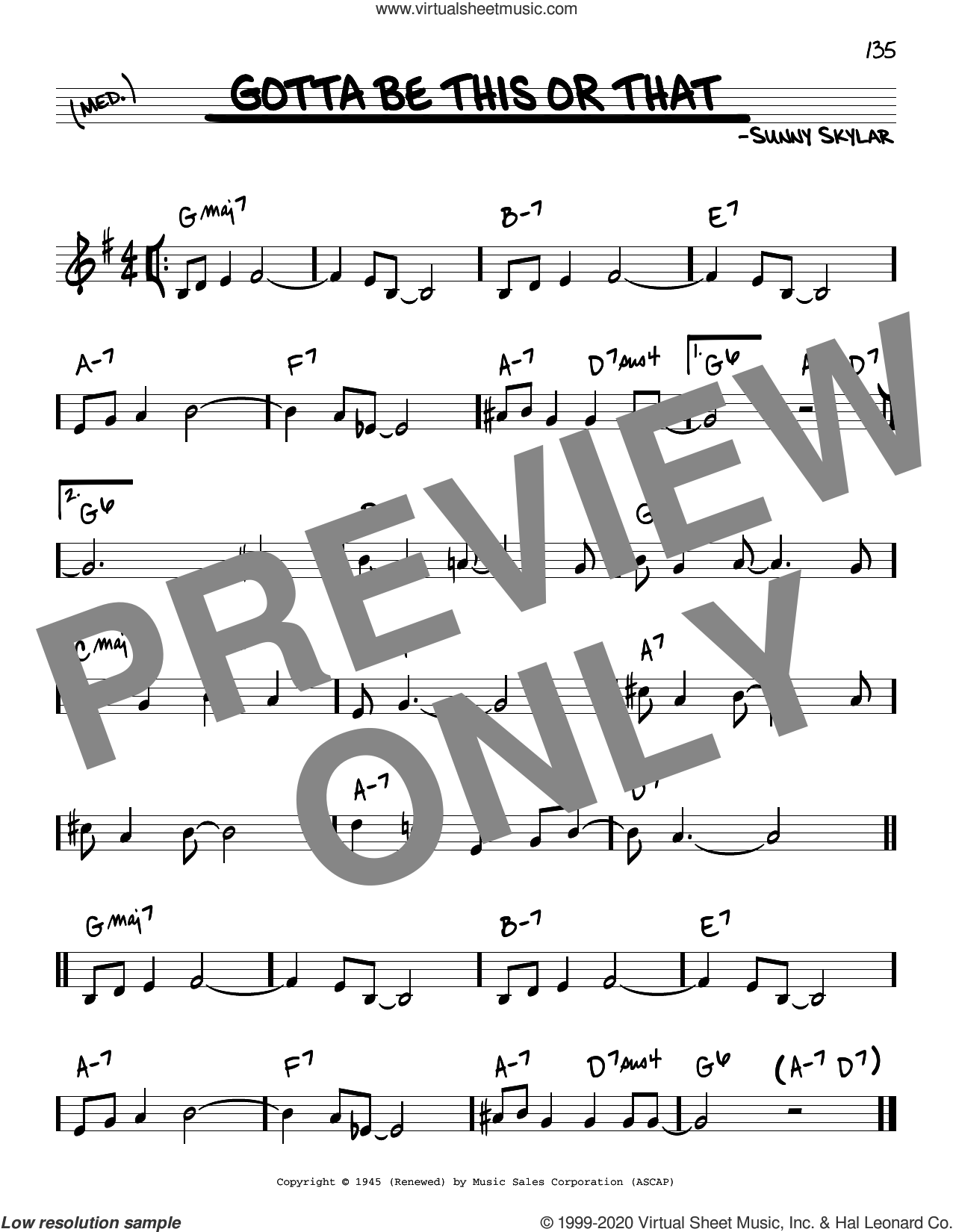 Gotta Be This Or That sheet music for voice and other instruments (real book) by Benny Goodman and His Orchestra and Sunny Skylar, intermediate skill level