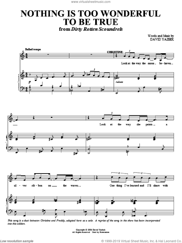 Nothing Is Too Wonderful To Be True sheet music for voice and piano by David Yazbek, intermediate skill level