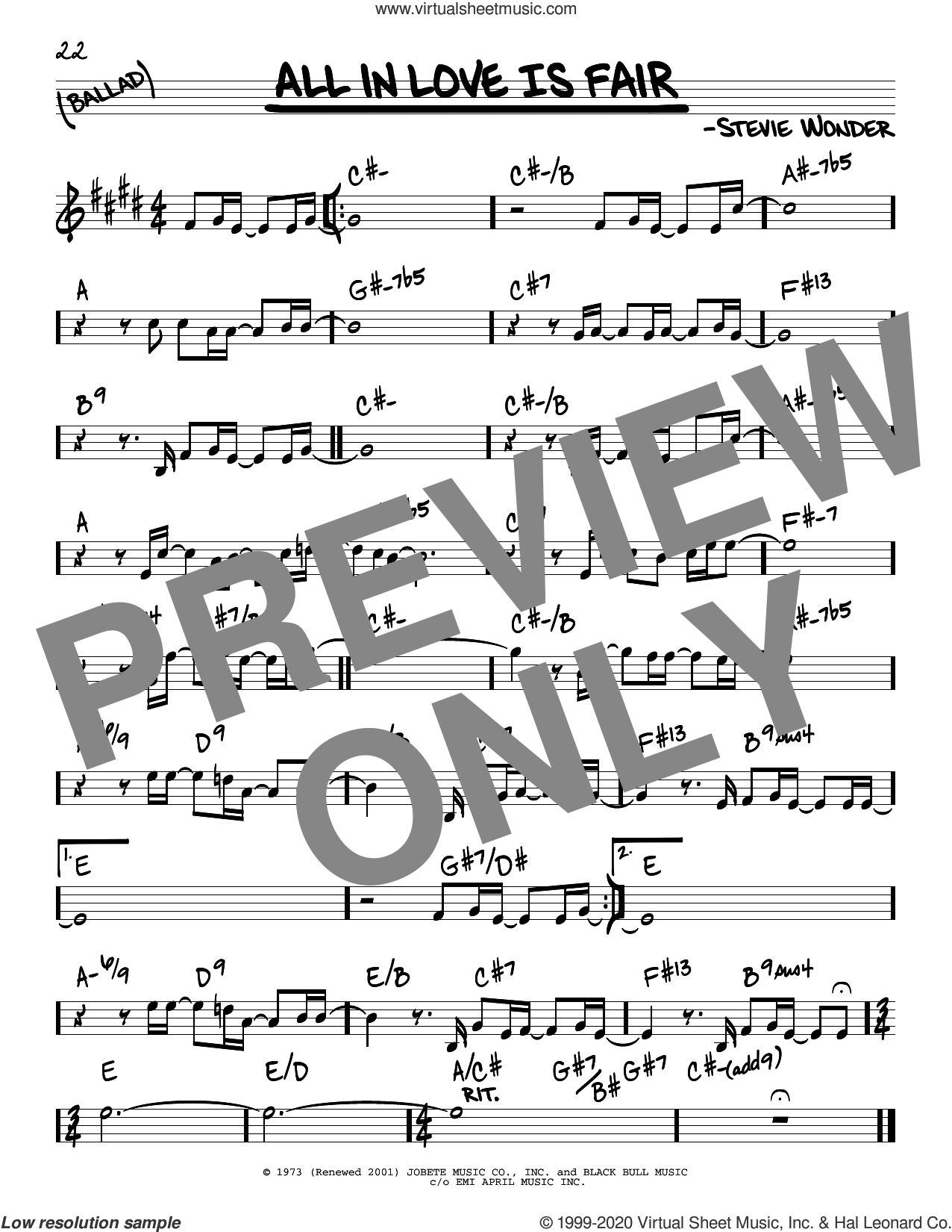 All In Love Is Fair sheet music for voice and other instruments (real book) by Stevie Wonder, intermediate skill level