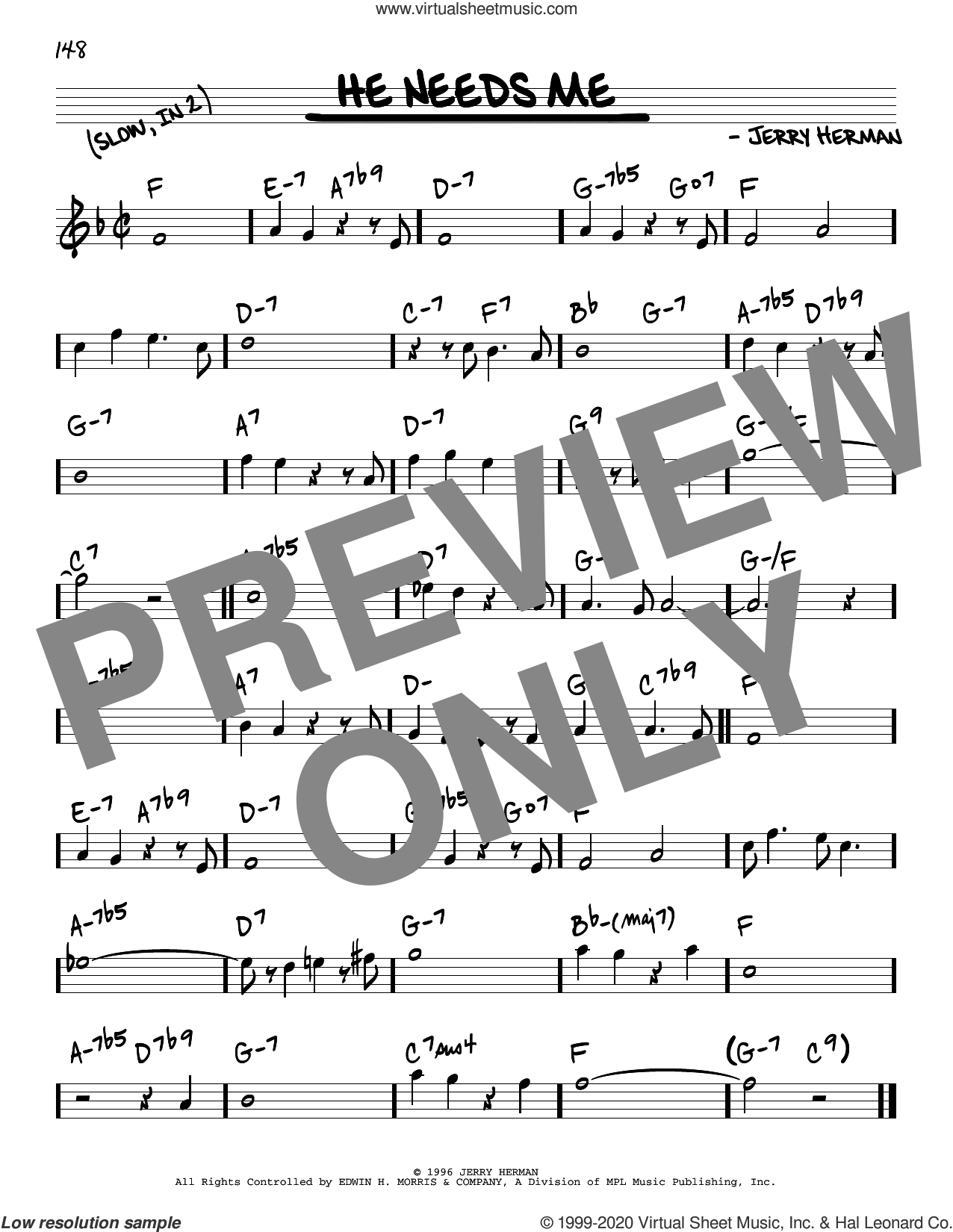 He Needs Me sheet music for voice and other instruments (real book) by Jerry Herman, intermediate skill level