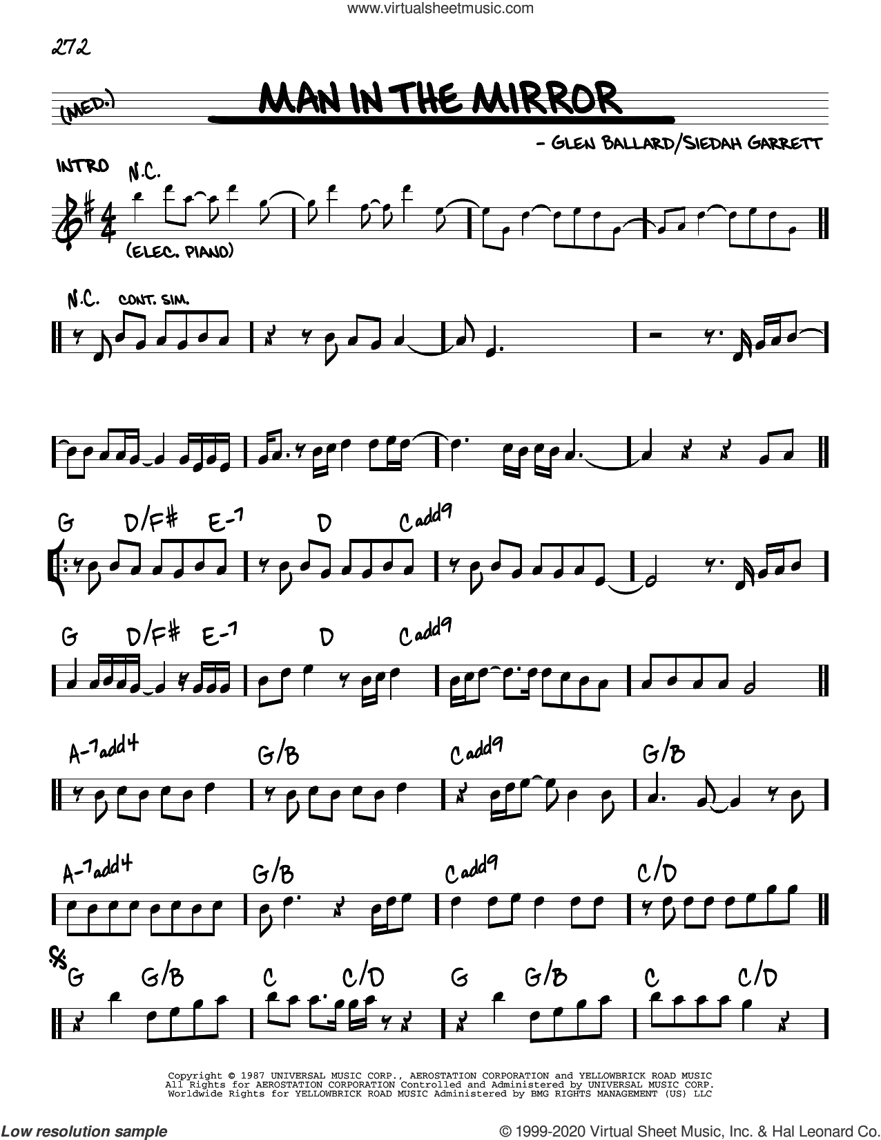 Man In The Mirror sheet music for voice and other instruments (real book) by Michael Jackson, Glen Ballard and Siedah Garrett, intermediate skill level