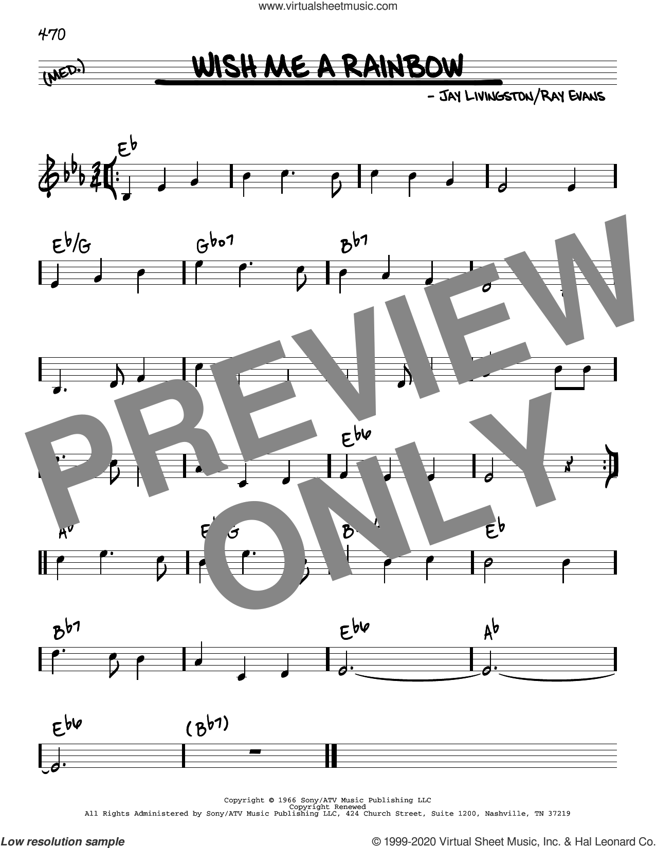 Wish Me A Rainbow sheet music for voice and other instruments (real book) by Jay Livingston, Jay Livingston & Ray Evans and Ray Evans, intermediate skill level