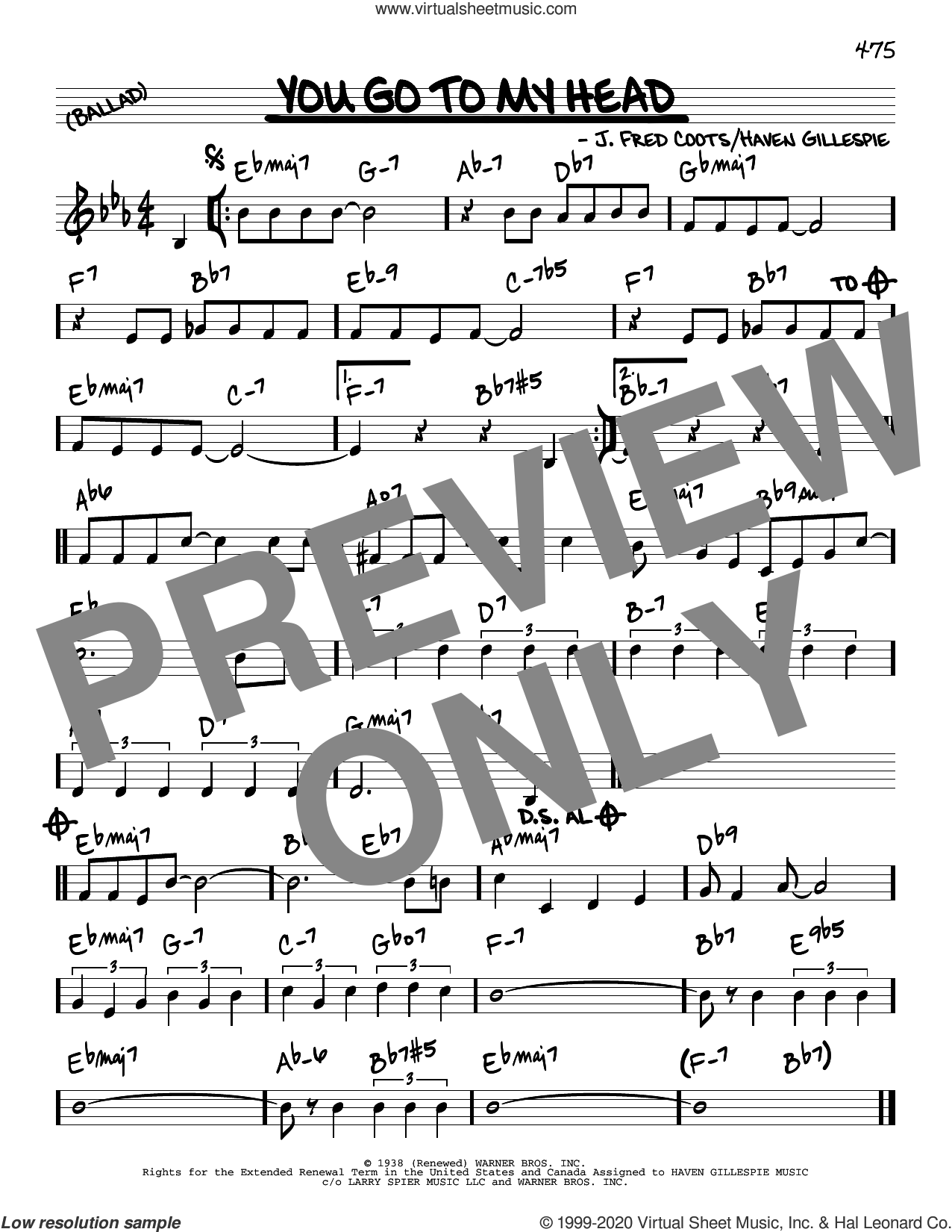 You Go To My Head sheet music for voice and other instruments (real book) by Haven Gillespie and J. Fred Coots, intermediate skill level