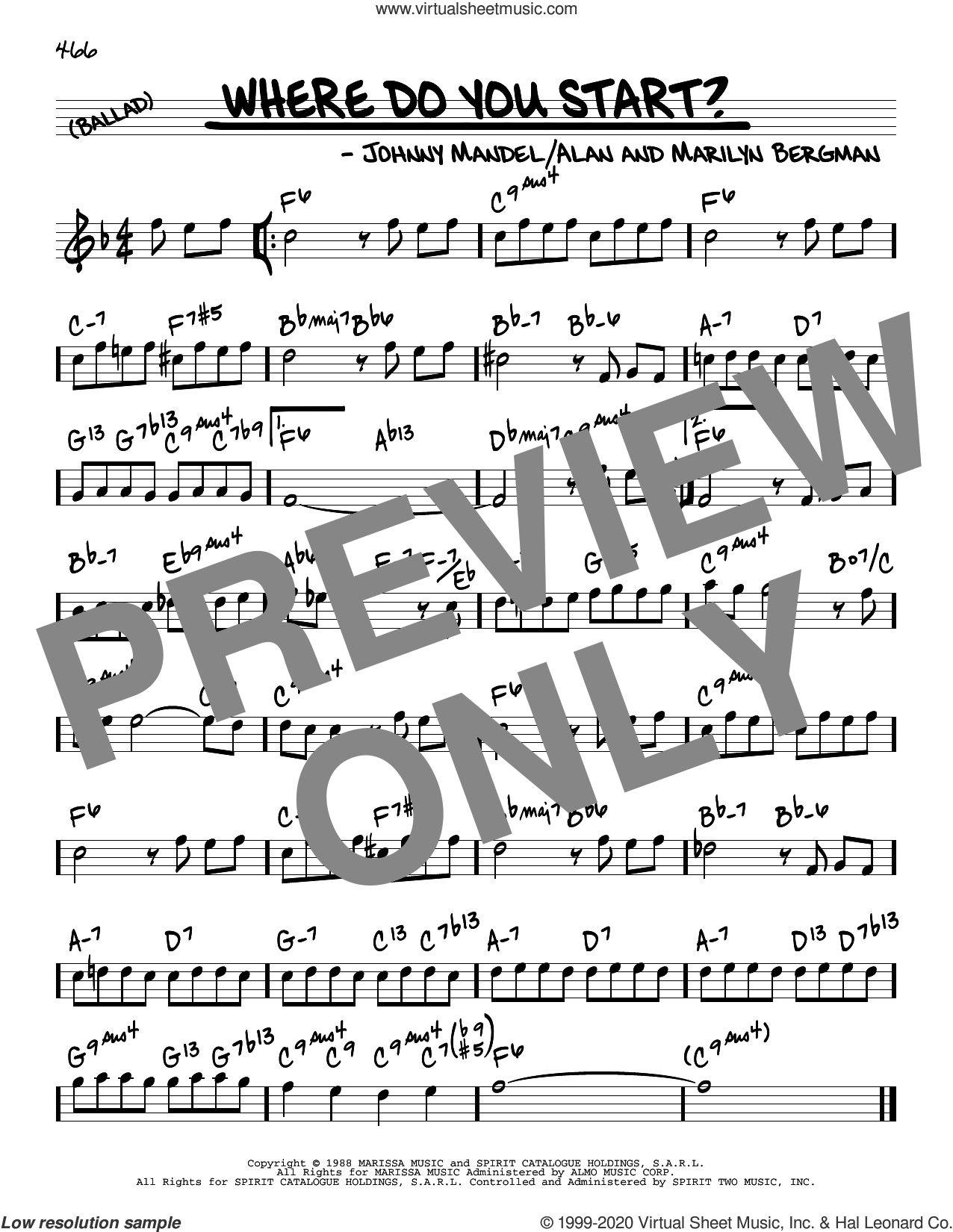 Where Do You Start? sheet music for voice and other instruments (real book) by Marilyn Bergman, Alan Bergman and Johnny Mandel, intermediate skill level
