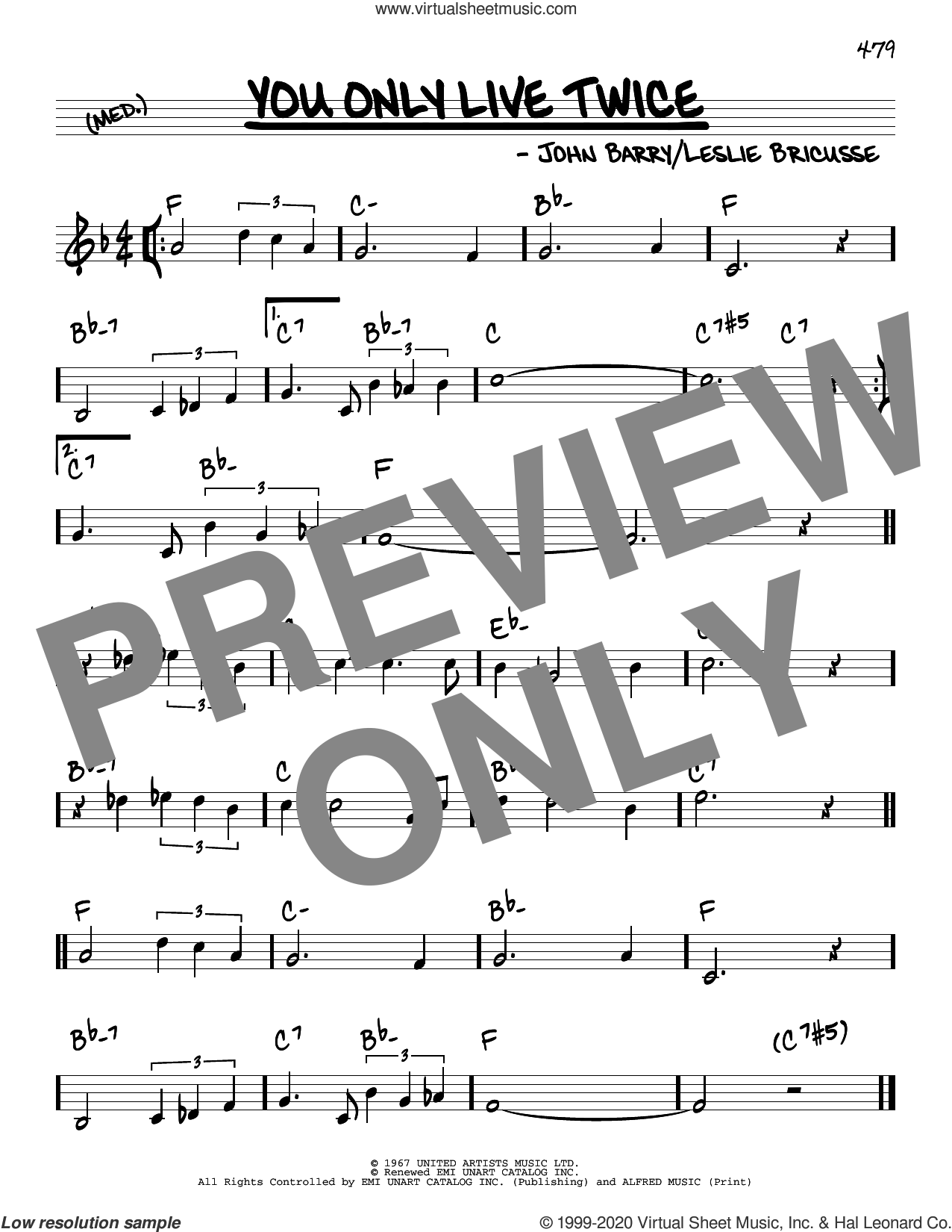 You Only Live Twice sheet music for voice and other instruments (real book) by Leslie Bricusse and John Barry, intermediate skill level