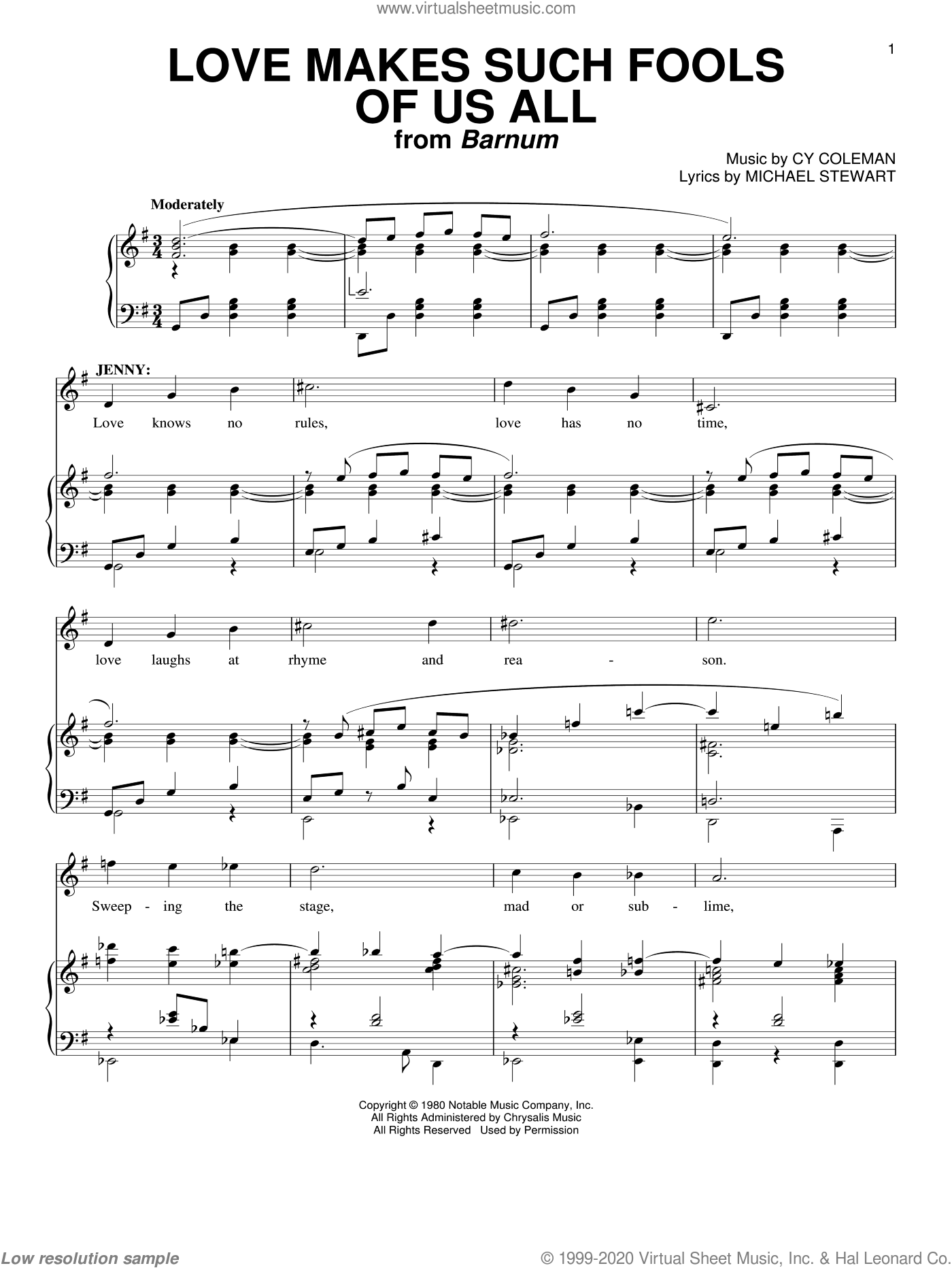 Love Makes Such Fools Of Us All sheet music for voice and piano by Cy Coleman and Michael Stewart, intermediate. Score Image Preview.