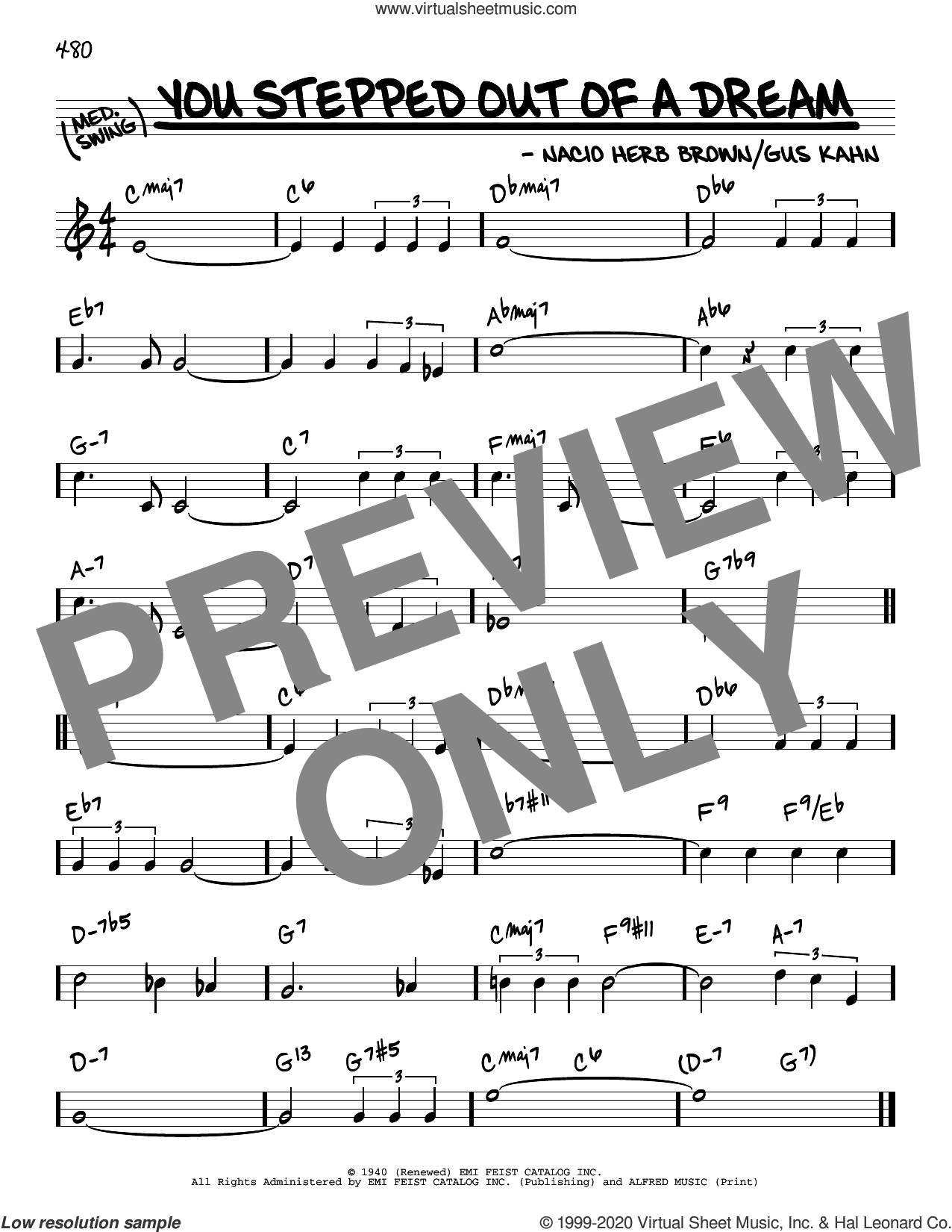 You Stepped Out Of A Dream sheet music for voice and other instruments (real book) by Gus Kahn and Nacio Herb Brown, intermediate skill level