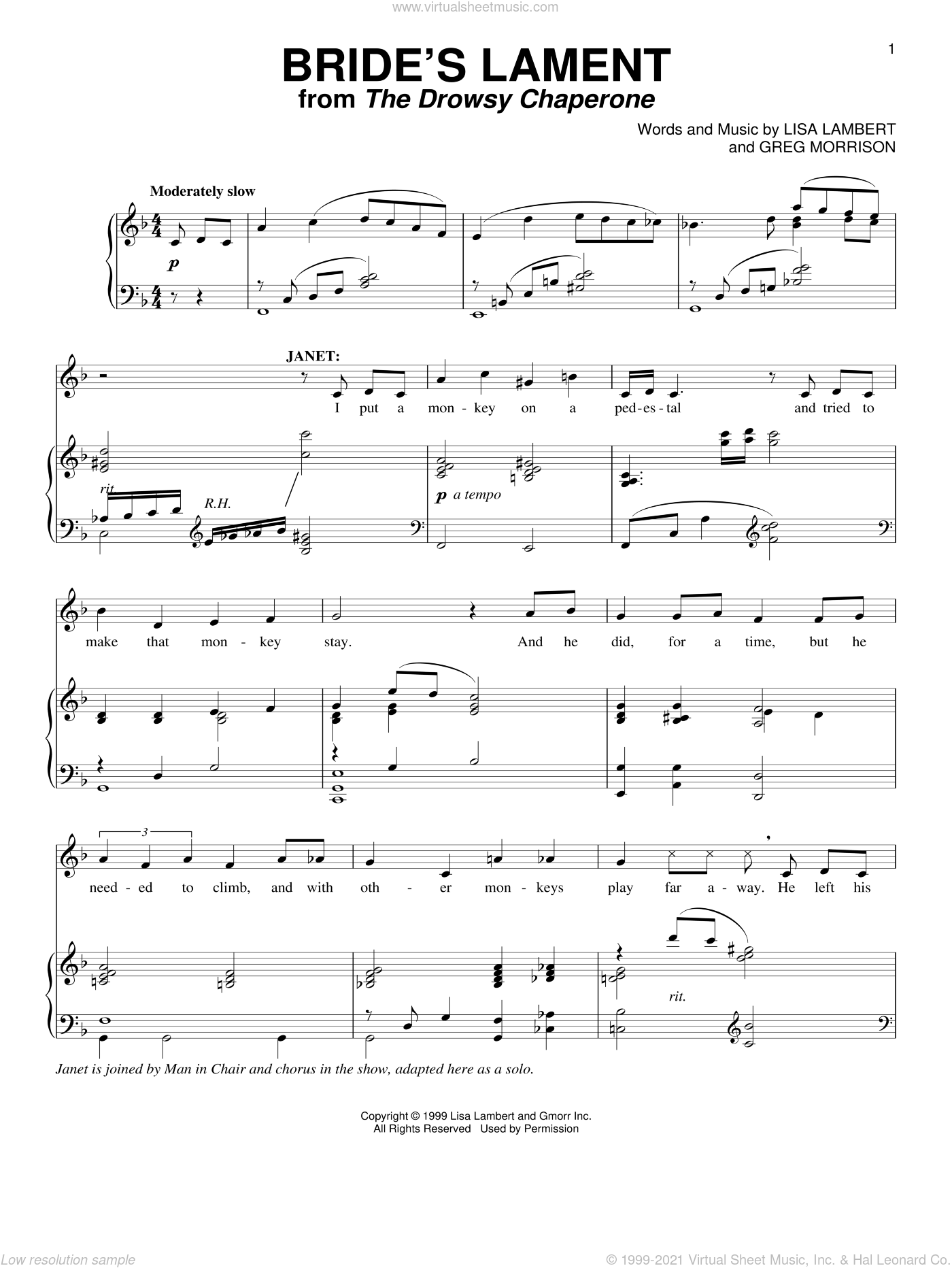 Bride's Lament sheet music for voice and piano by Greg Morrison and Lisa Lambert