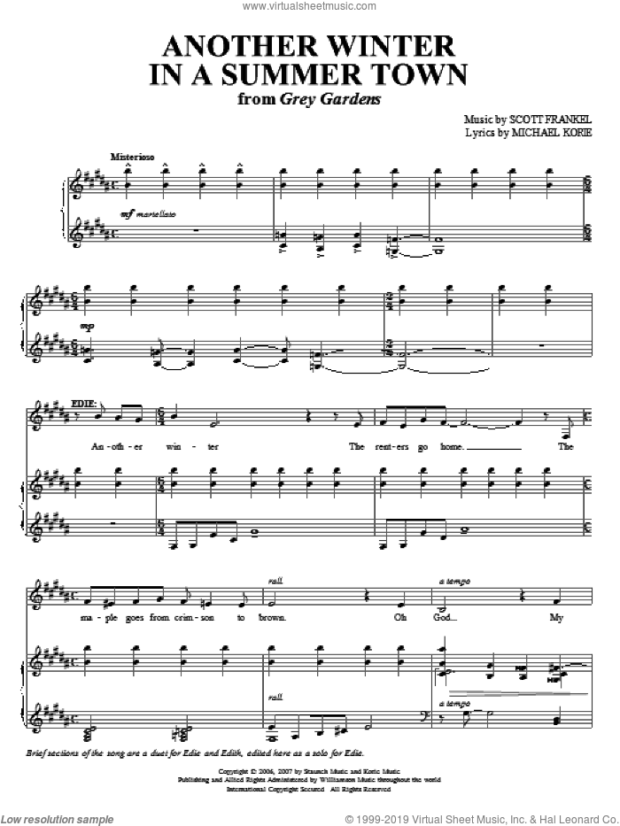 Another Winter In A Summer Town sheet music for voice and piano by Michael Korie and Scott Frankel, intermediate skill level