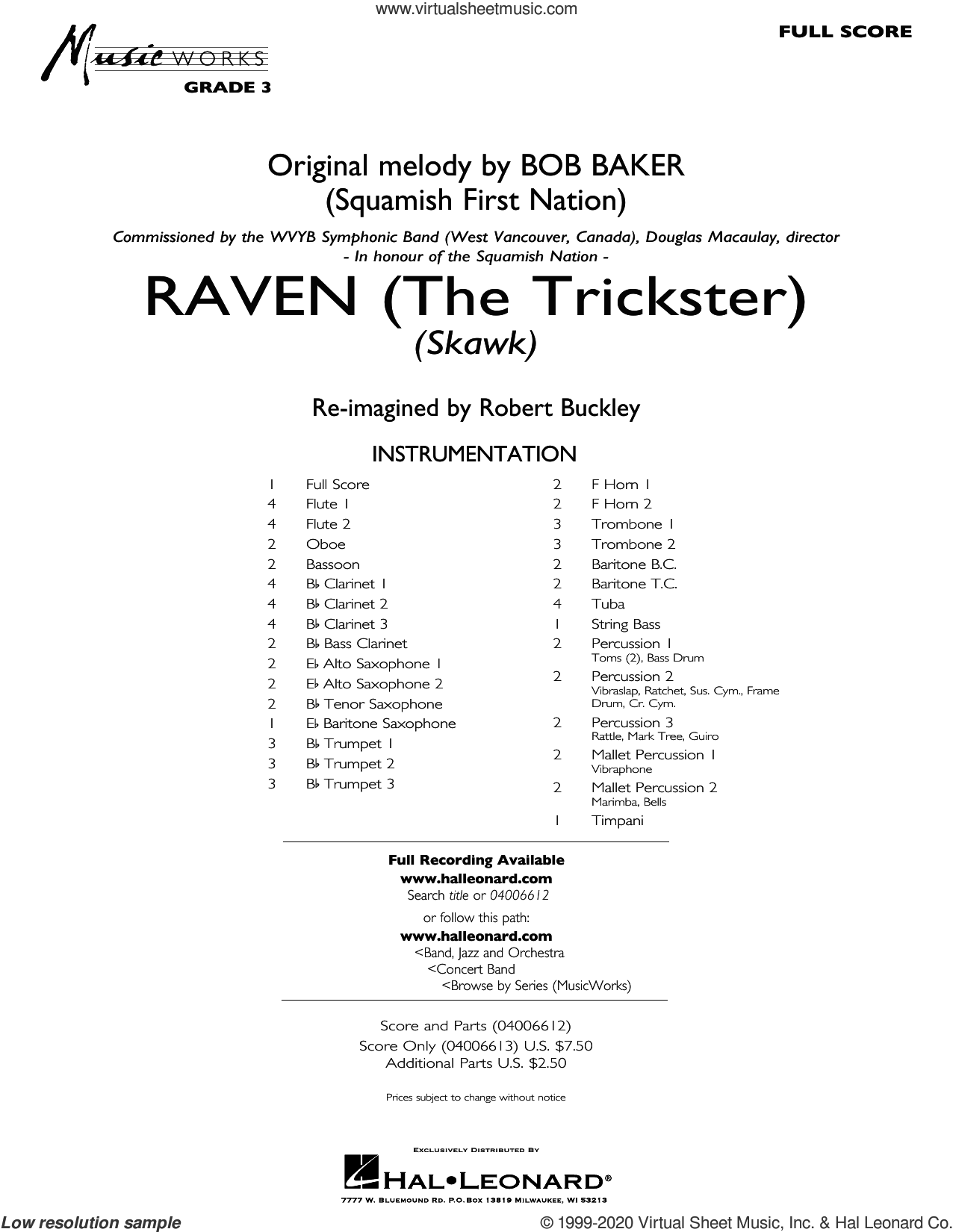 Raven (The Trickster) (arr. Robert Buckley) (COMPLETE) sheet music for concert band by Bob Baker and Robert Buckley, intermediate skill level