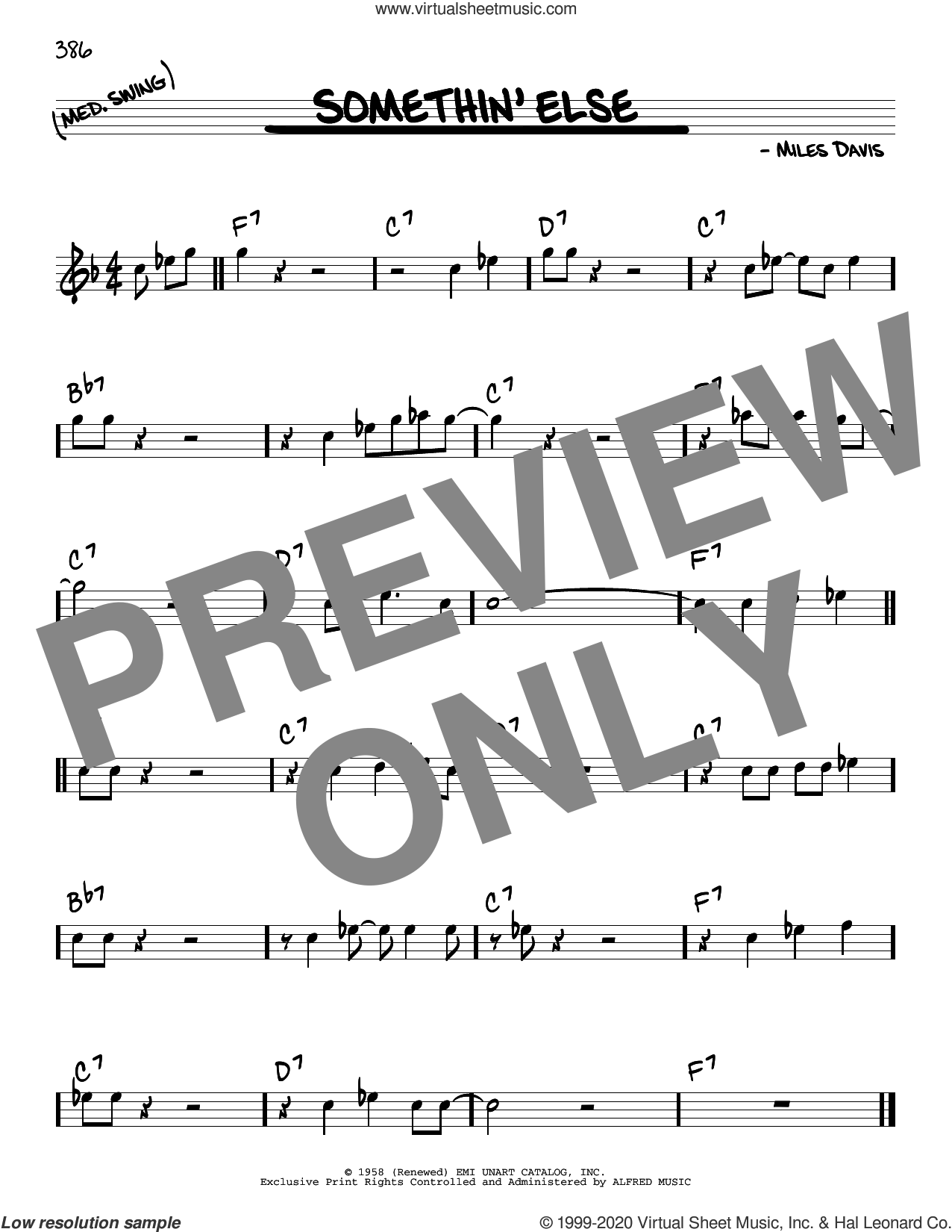 Somethin' Else sheet music for voice and other instruments (real book) by Miles Davis, intermediate skill level