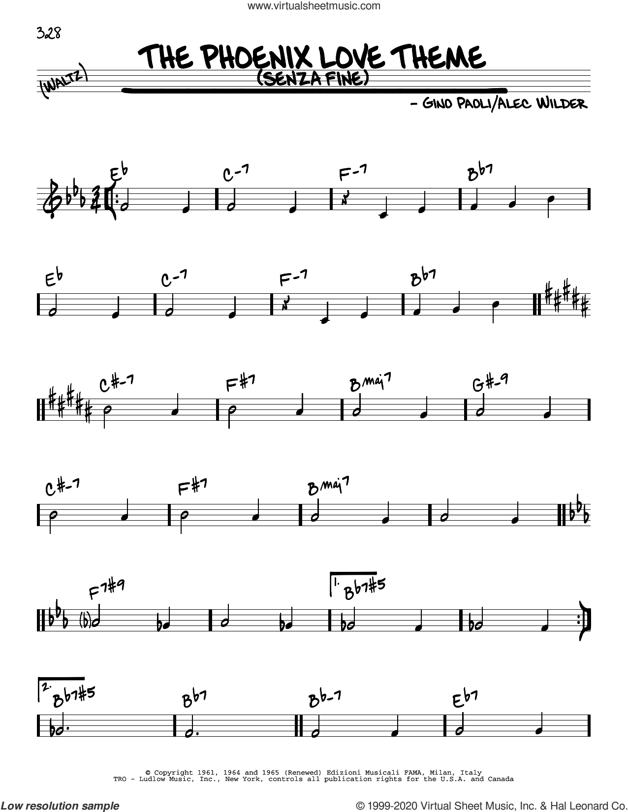 The Phoenix Love Theme (Senza Fine) sheet music for voice and other instruments (real book) by Alec Wilder and Gino Paoli, intermediate skill level
