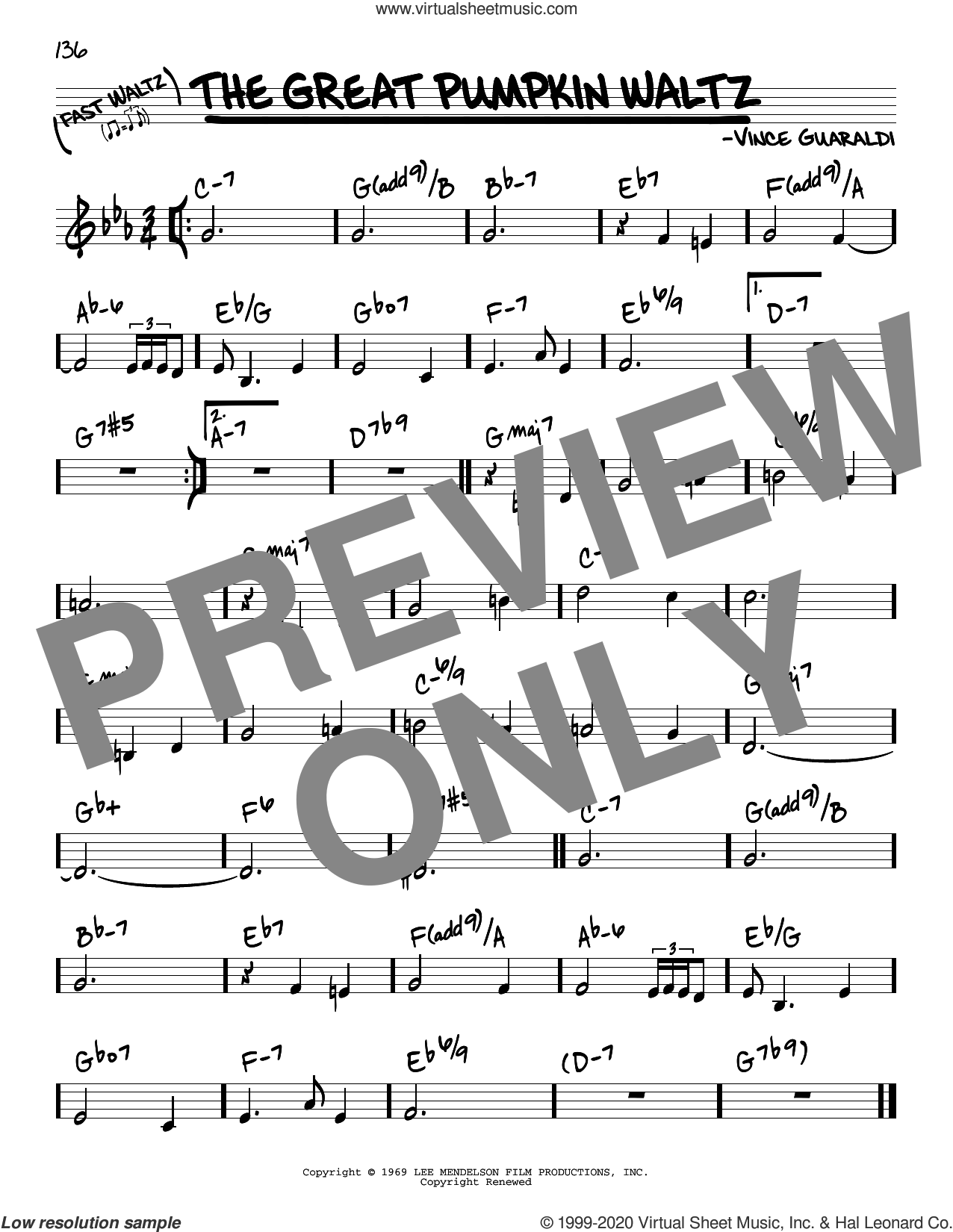 The Great Pumpkin Waltz sheet music for voice and other instruments (real book) by Vince Guaraldi, intermediate skill level