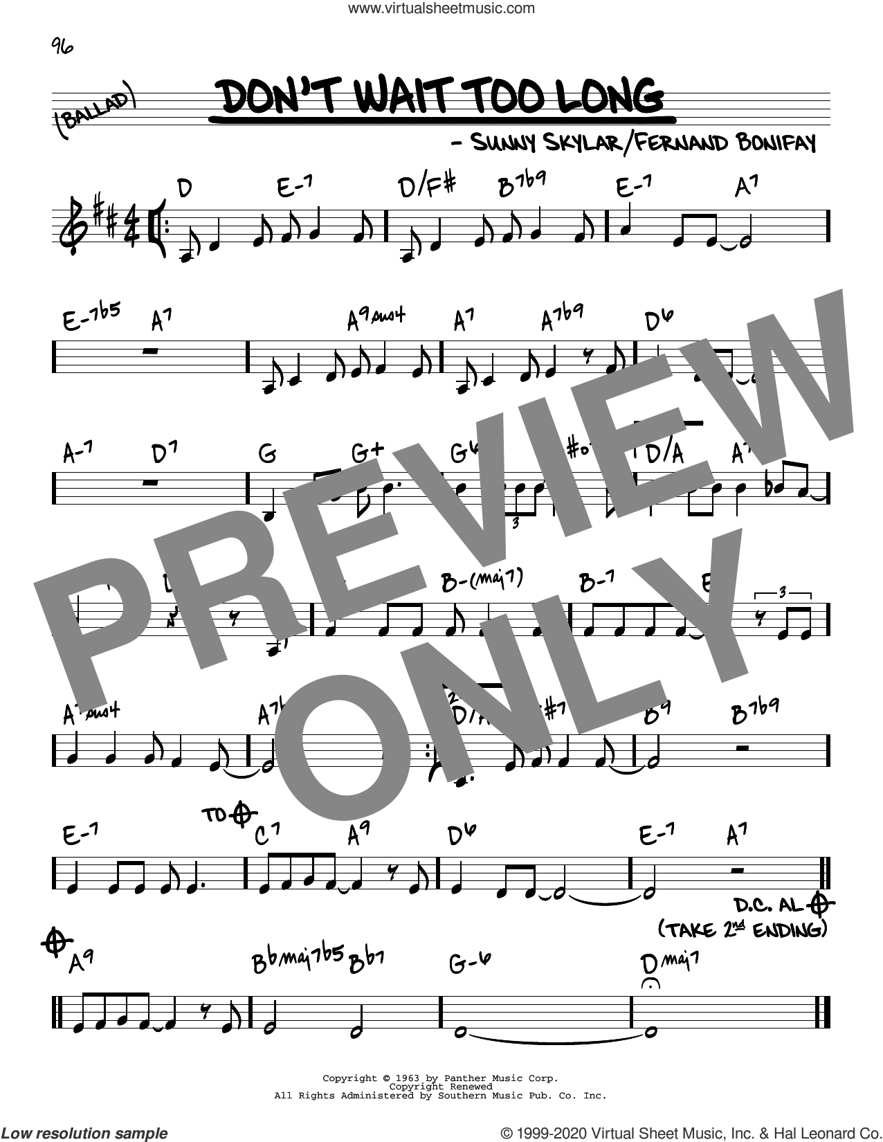 Don't Wait Too Long sheet music for voice and other instruments (real book) by Sunny Skylar and Fernand Bonifay, intermediate skill level