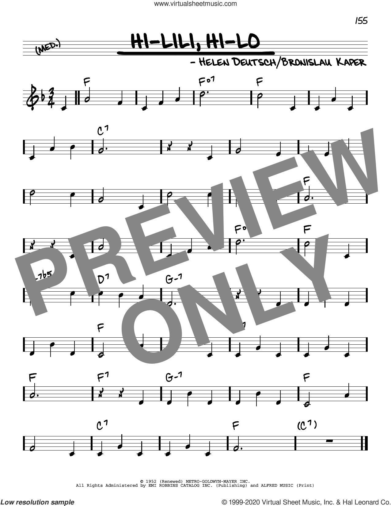 Hi-Lili, Hi-Lo sheet music for voice and other instruments (real book) by Bronislau Kaper and Helen Deutsch, intermediate skill level