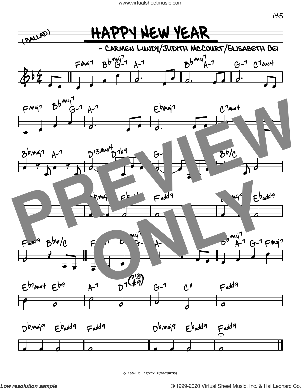 Happy New Year sheet music for voice and other instruments (real book) by Carmen Lundy, Elizabeth Oei and Judith McCourt, intermediate skill level