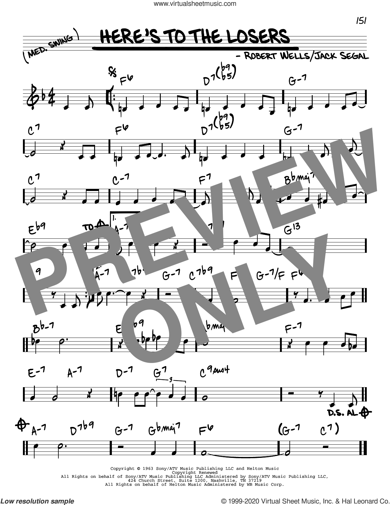 Here's To The Losers sheet music for voice and other instruments (real book) by Robert Wells and Jack Segal, intermediate skill level