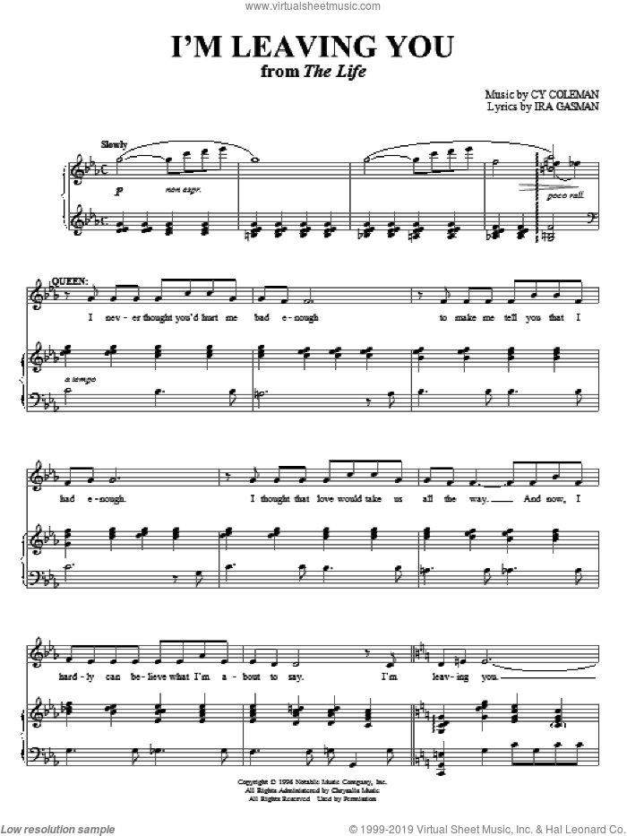 I'm Leaving You sheet music for voice and piano by Cy Coleman and Ira Gasman, intermediate skill level