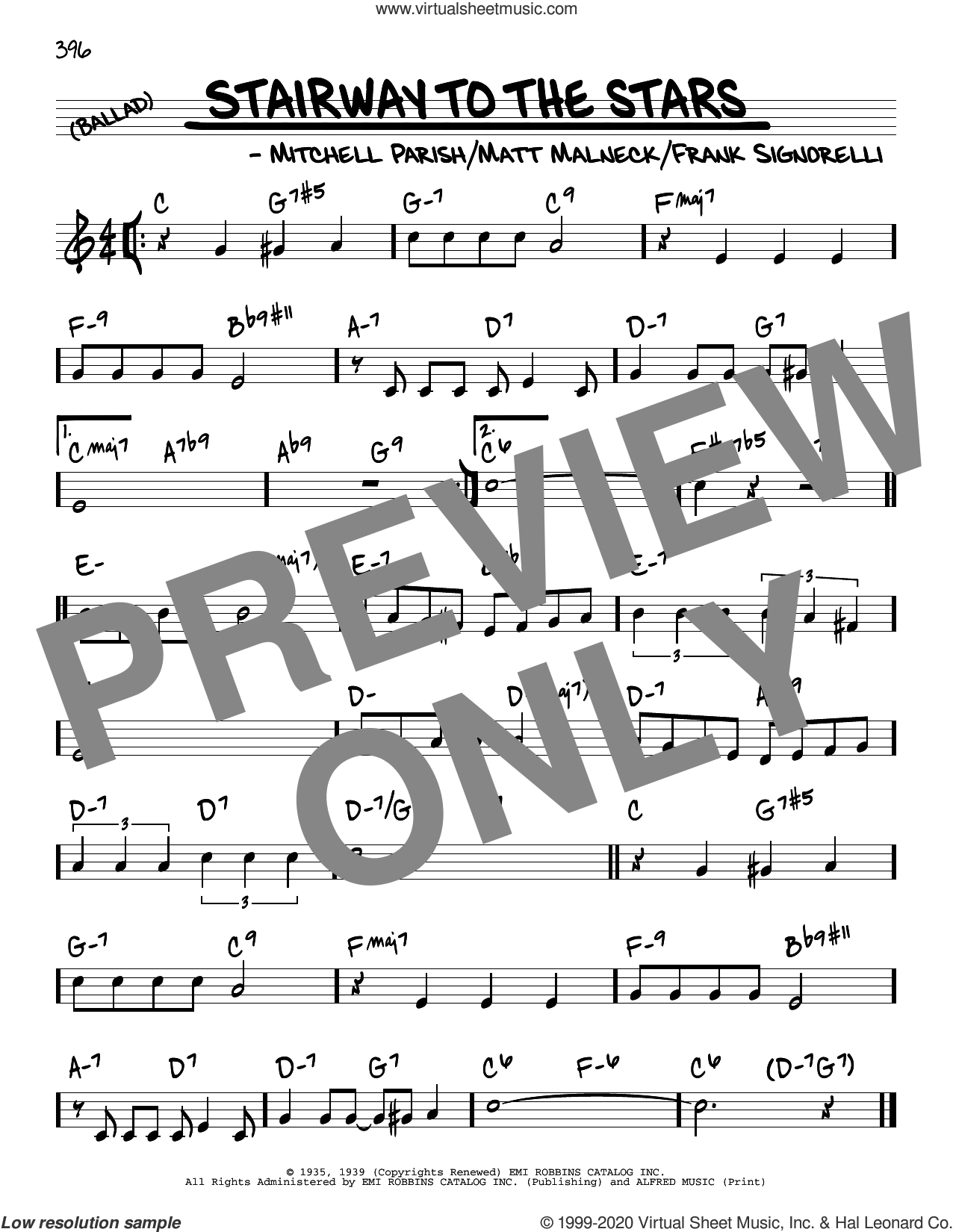 Stairway To The Stars sheet music for voice and other instruments (real book) by Mitchell Parish, Frank Signorelli and Matt Malneck, intermediate skill level