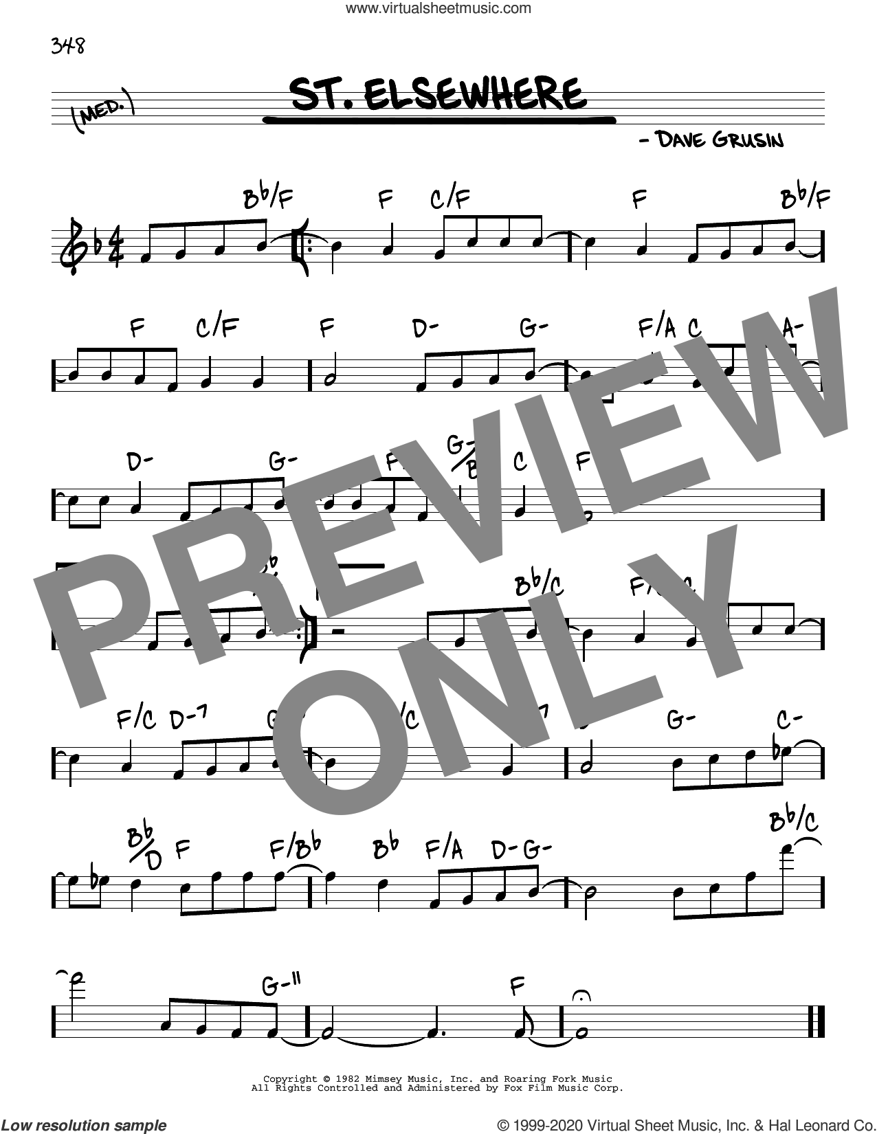 St. Elsewhere sheet music for voice and other instruments (real book) by Dave Grusin, intermediate skill level