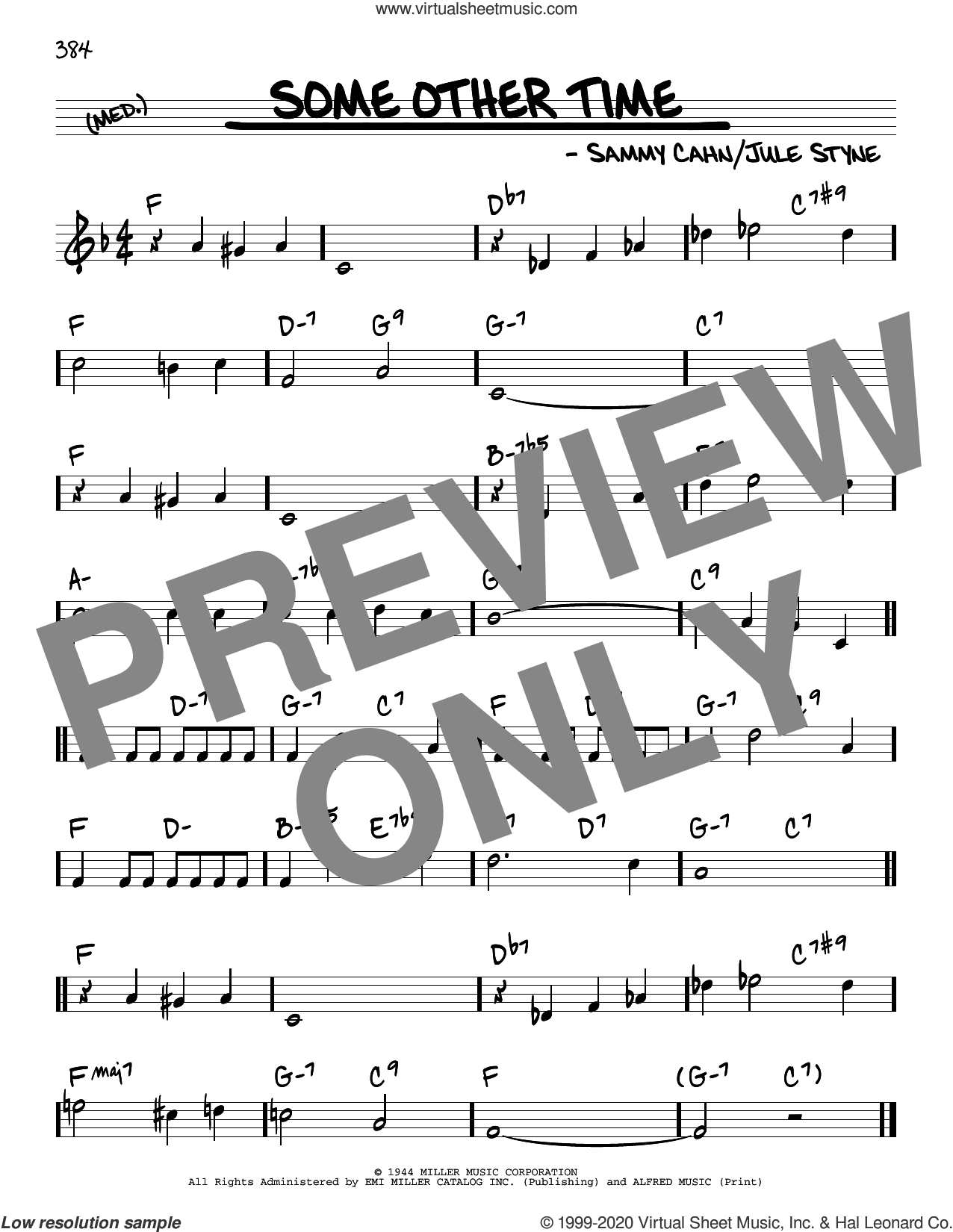 Some Other Time sheet music for voice and other instruments (real book) by Sammy Cahn and Jule Styne, intermediate skill level