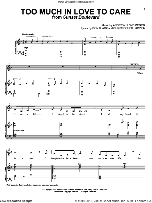 Too Much In Love To Care sheet music for voice and piano by Andrew Lloyd Webber and Don Black. Score Image Preview.