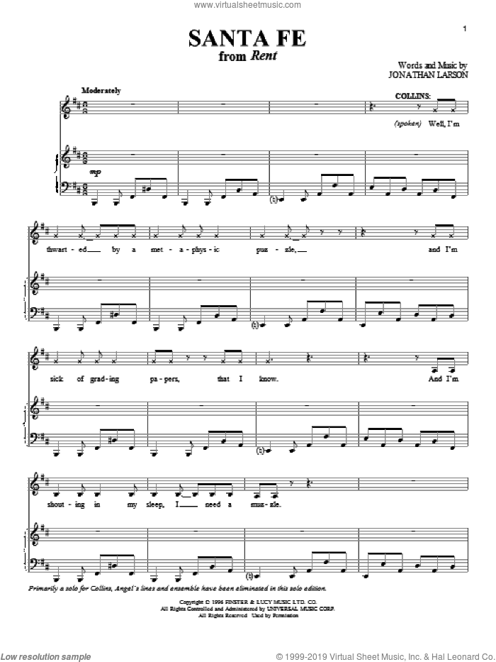 Santa Fe sheet music for voice and piano by Jonathan Larson, intermediate skill level