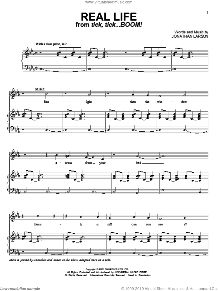 Real Life sheet music for voice and piano by Jonathan Larson, intermediate. Score Image Preview.
