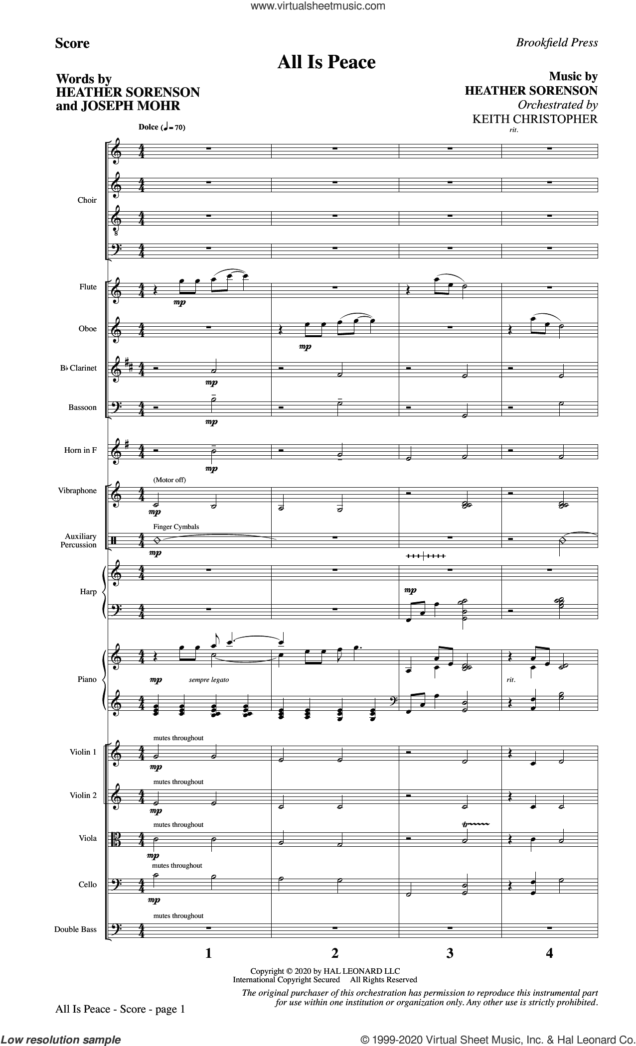 All Is Peace (COMPLETE) sheet music for orchestra/band by Heather Sorenson, Heather Sorenson and Joseph Mohr and Joseph Mohr, intermediate skill level