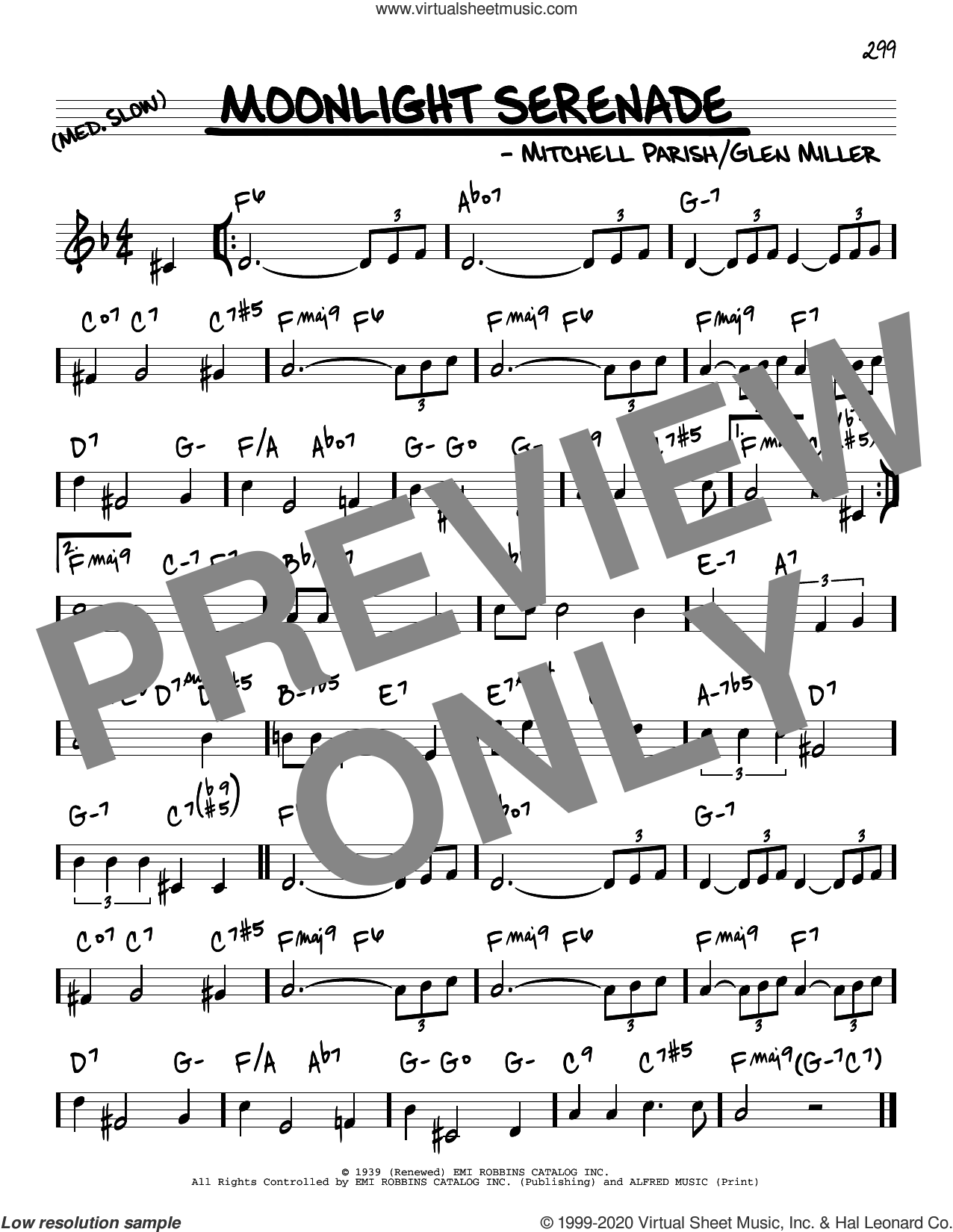 Moonlight Serenade sheet music for voice and other instruments (real book) by Mitchell Parish and Glenn Miller, intermediate skill level
