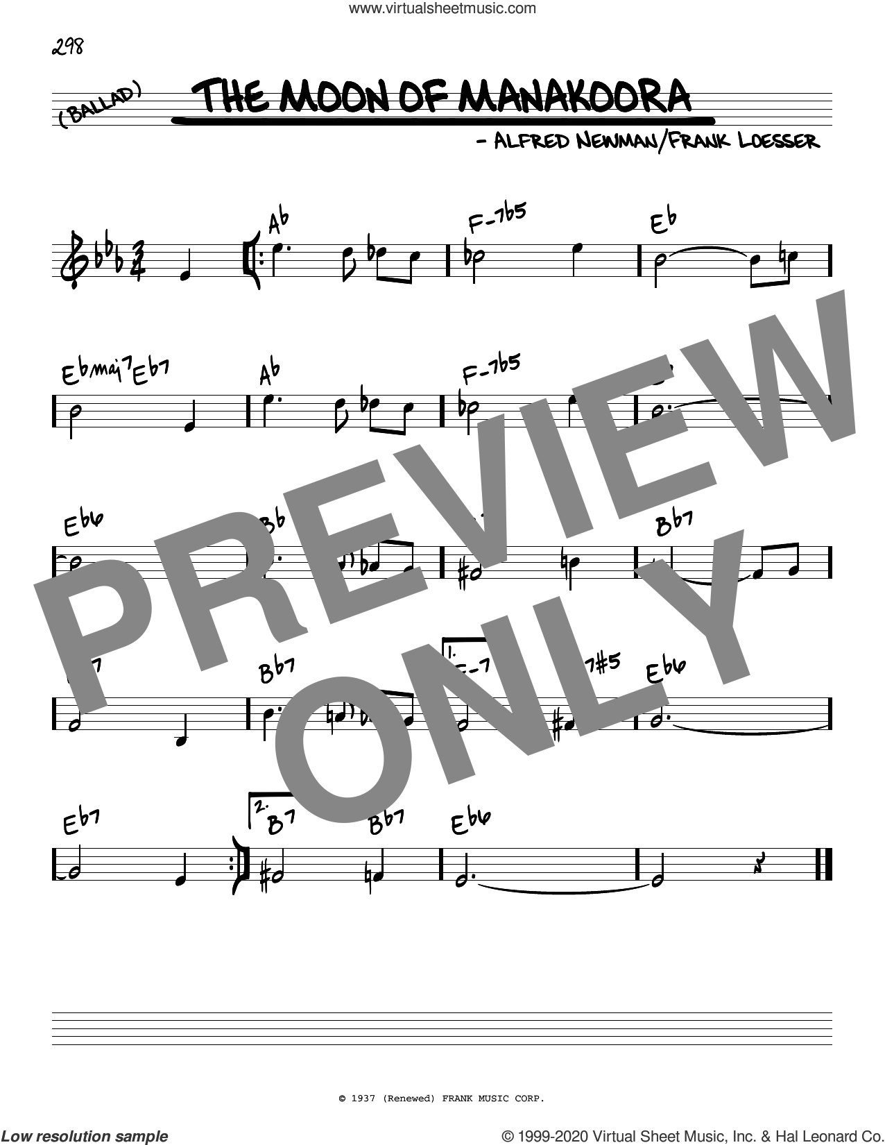The Moon Of Manakoora sheet music for voice and other instruments (real book) by Frank Loesser and Alfred Newman, intermediate skill level