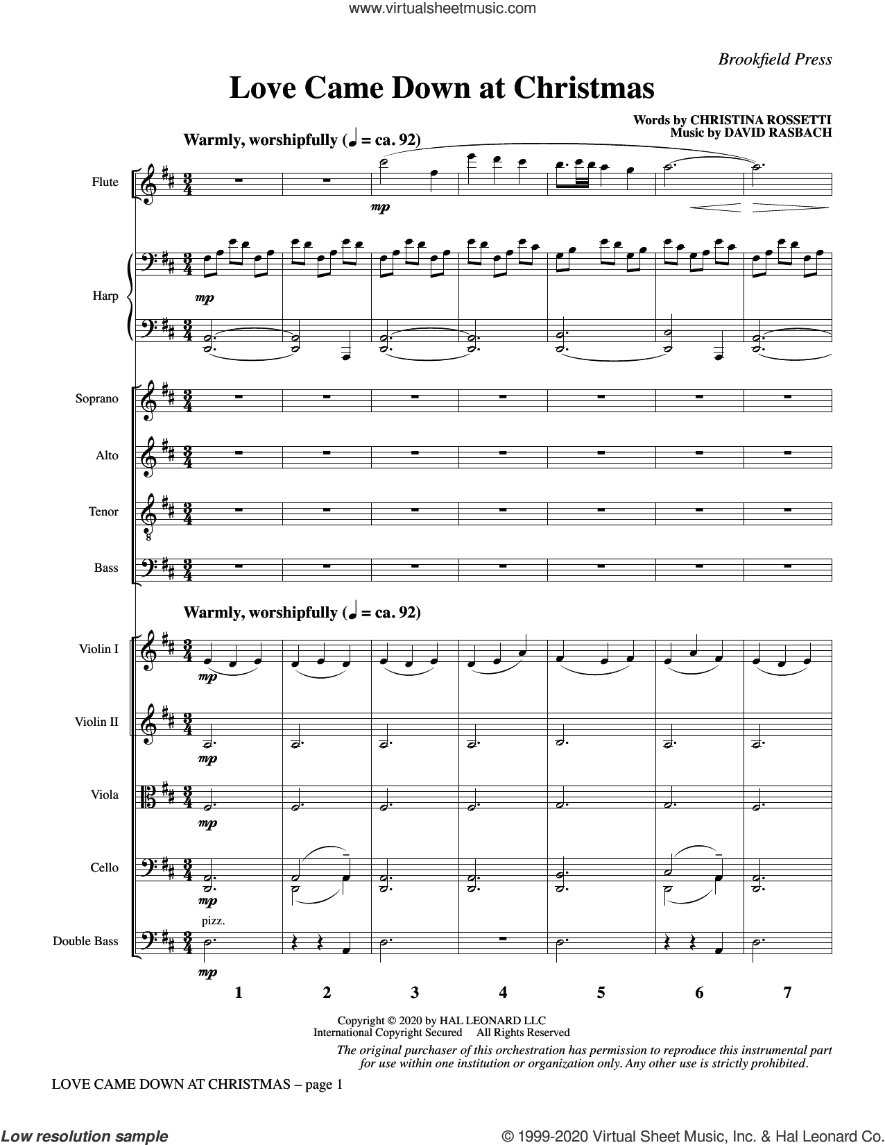 Love Came Down at Christmas (COMPLETE) sheet music for orchestra/band by Christina Rossetti, Christina Rossetti and David Rasbach and David Rasbach, intermediate skill level