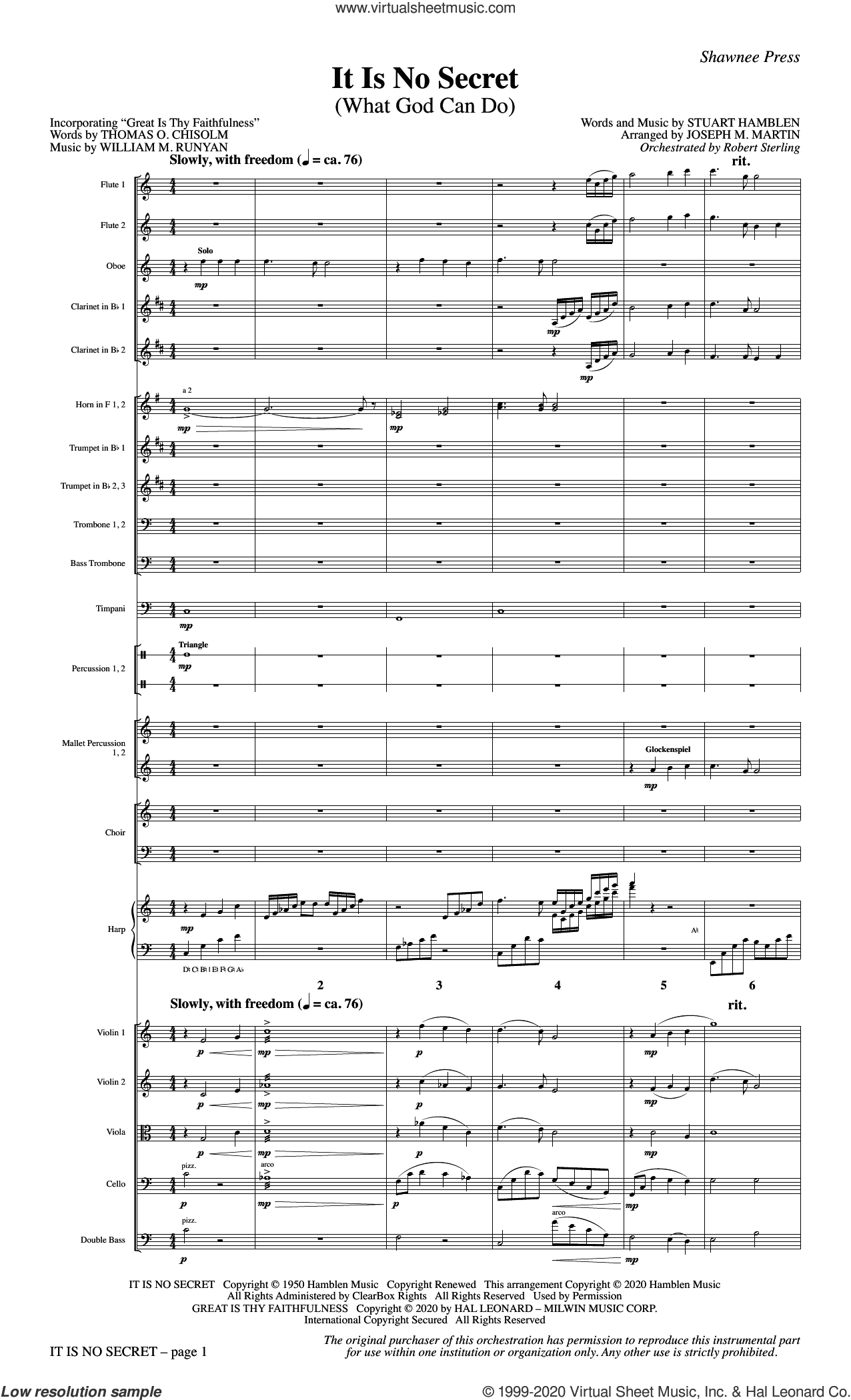 It Is No Secret (What God Can Do) (with 'Great Is Thy Faithfulness') (arr. Joseph M. Martin) (COMPLETE) sheet music for orchestra/band by Joseph M. Martin and Stuart Hamblen, intermediate skill level