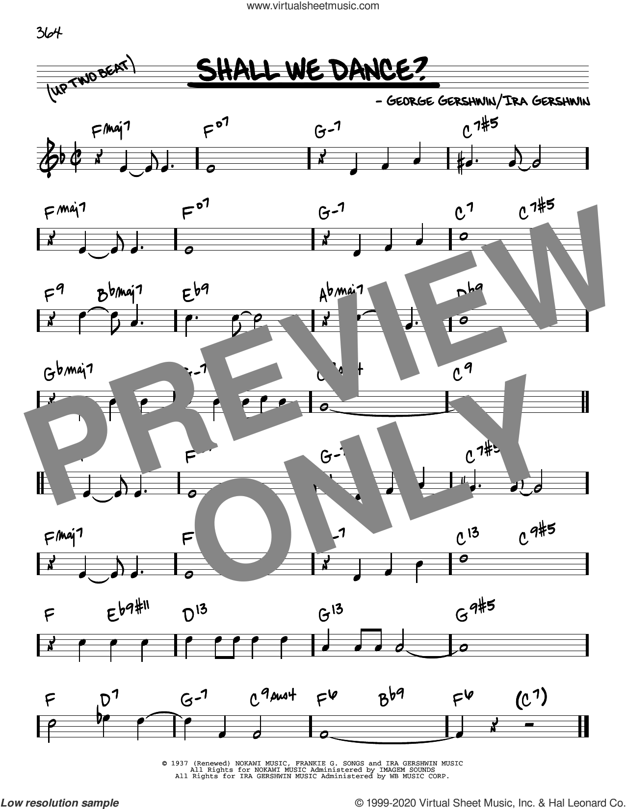 Shall We Dance? sheet music for voice and other instruments (real book) by George Gershwin and Ira Gershwin, intermediate skill level