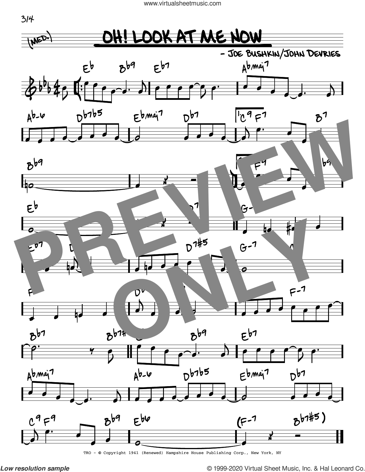 Oh! Look At Me Now sheet music for voice and other instruments (real book) by John De Vries and Joe Bushkin, intermediate skill level