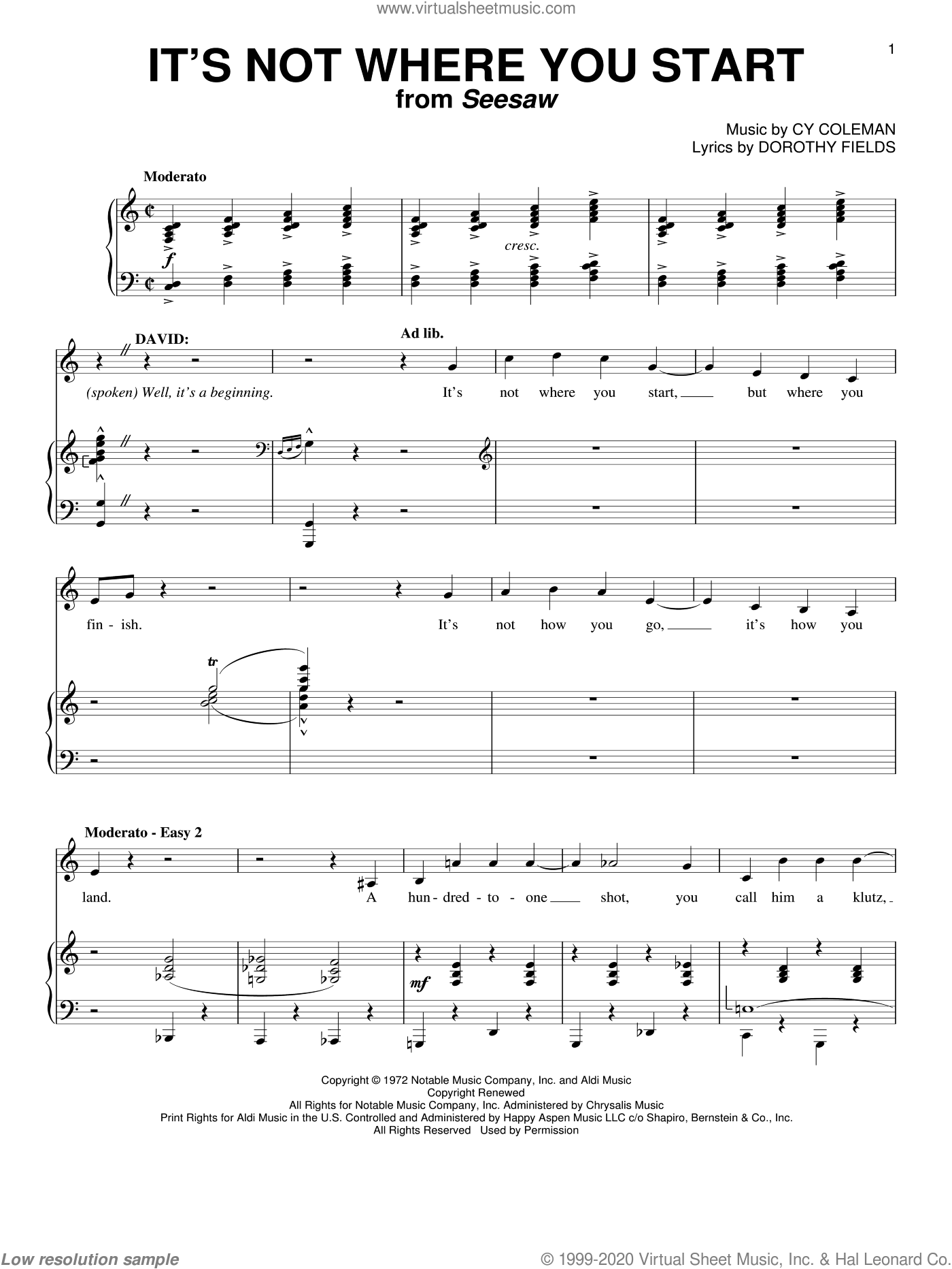 It's Not Where You Start sheet music for voice and piano by Cy Coleman and Dorothy Fields, intermediate voice. Score Image Preview.