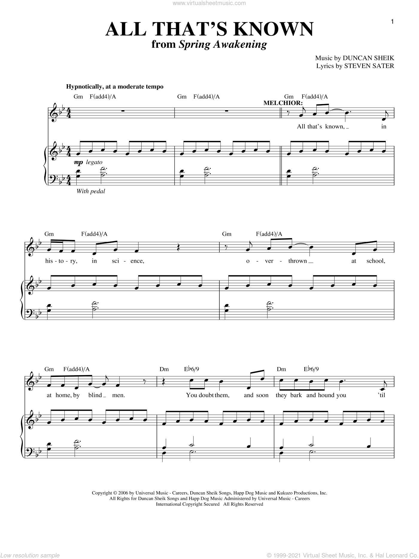 All That's Known sheet music for voice and piano by Duncan Sheik and Steven Sater. Score Image Preview.
