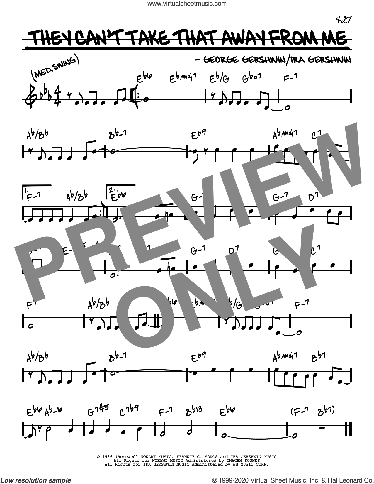 They Can't Take That Away From Me sheet music for voice and other instruments (real book) by George Gershwin, Frank Sinatra, George Gershwin & Ira Gershwin and Ira Gershwin, intermediate skill level