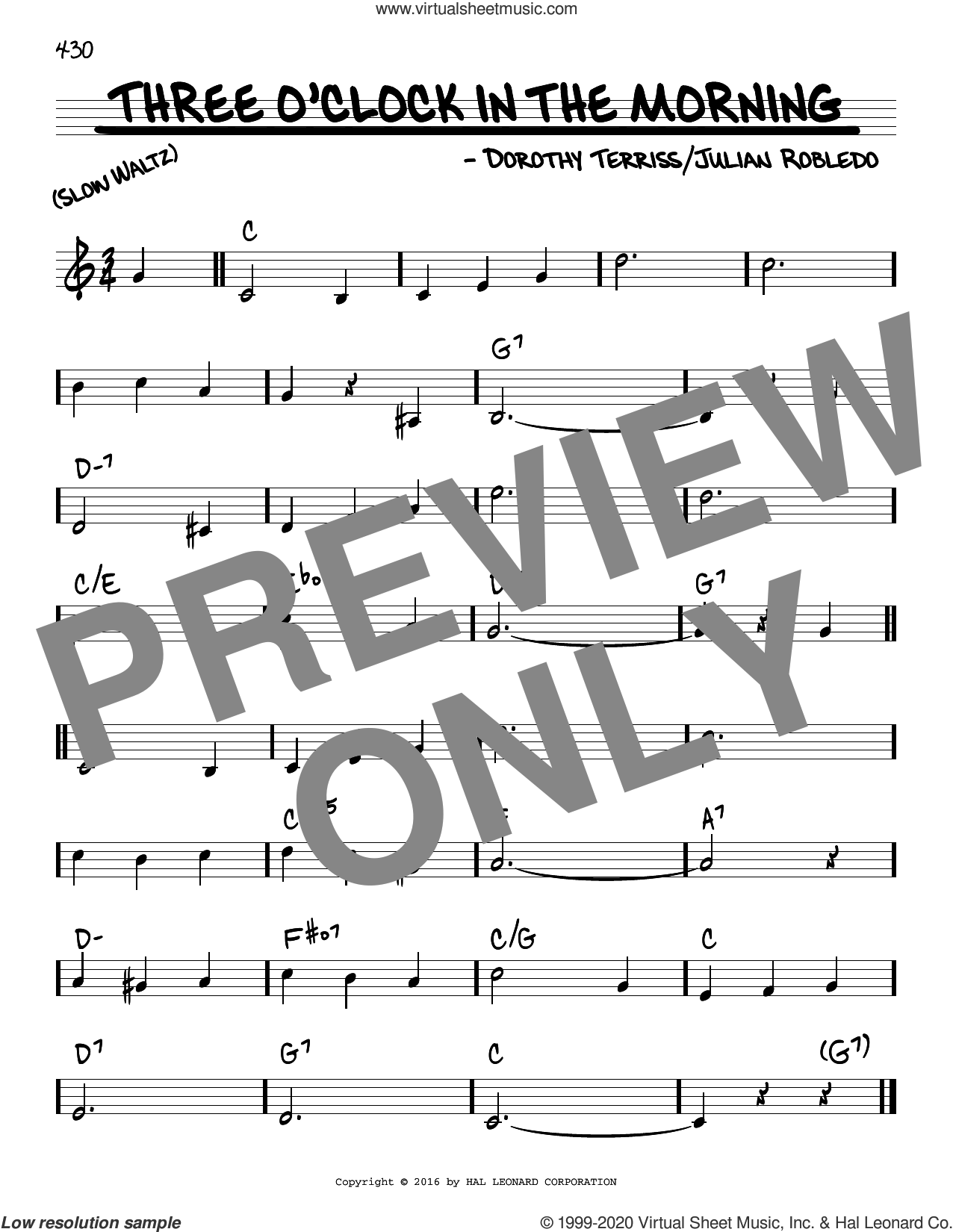 Three O'Clock In The Morning sheet music for voice and other instruments (real book) by Dorothy Terriss and Julian Robledo, intermediate skill level